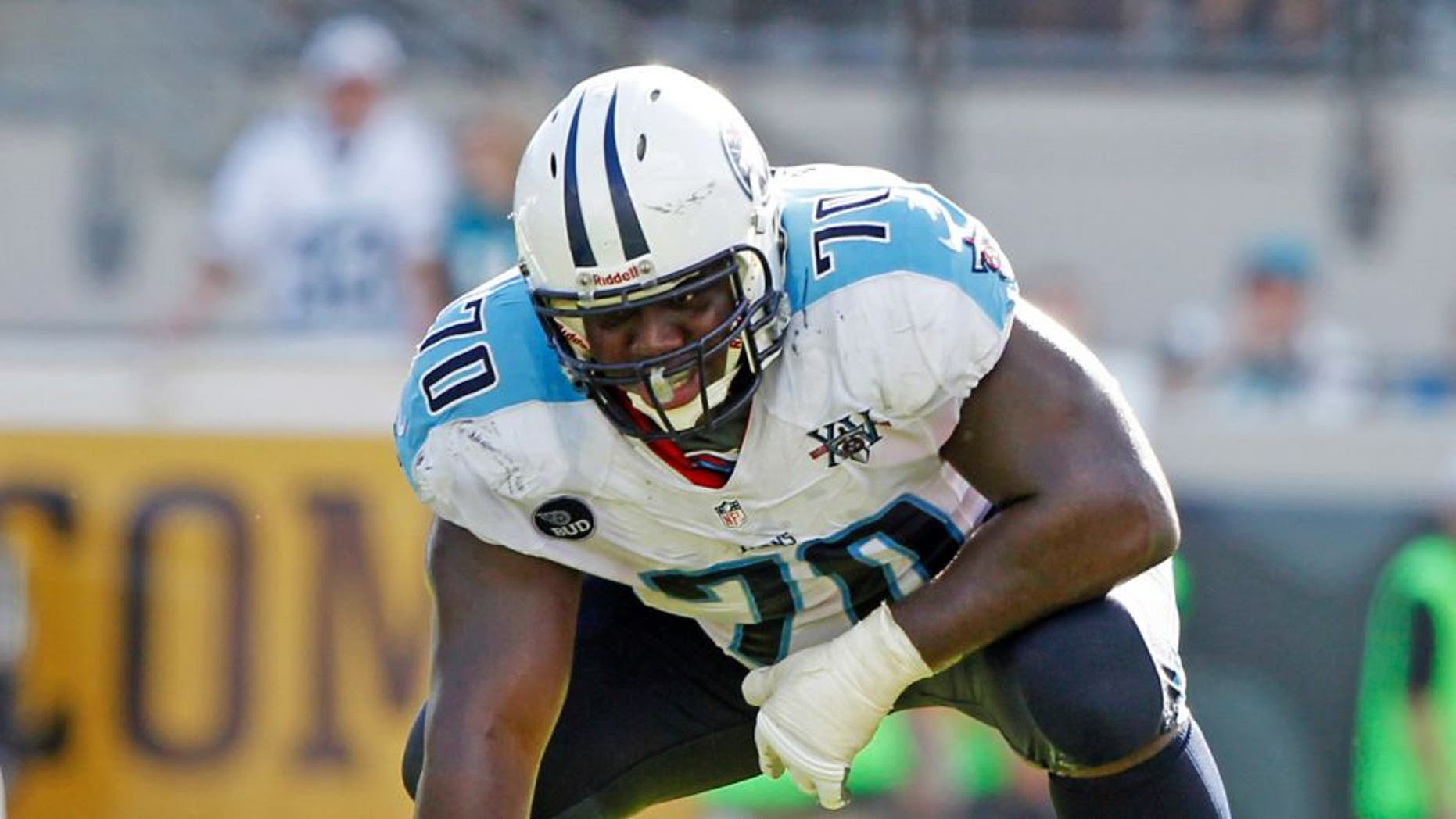 Dec 22, 2013; Jacksonville, FL, USA; Tennessee Titans offensive guard Chance Warmack (70) against the Jacksonville Jaguars during the first half at EverBank Field. Mandatory Credit: Kim Klement-USA TODAY Sports