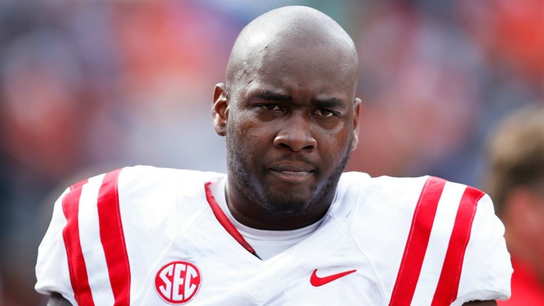 AUBURN, AL - OCTOBER 31: Laremy Tunsil #78 of the Ole Miss Rebels looks on during a game against the Auburn Tigers at Jordan-Hare Stadium on October 31, 2015 in Auburn, Alabama. Ole Miss defeated Auburn 27-19. (Photo by Joe Robbins/Getty Images)