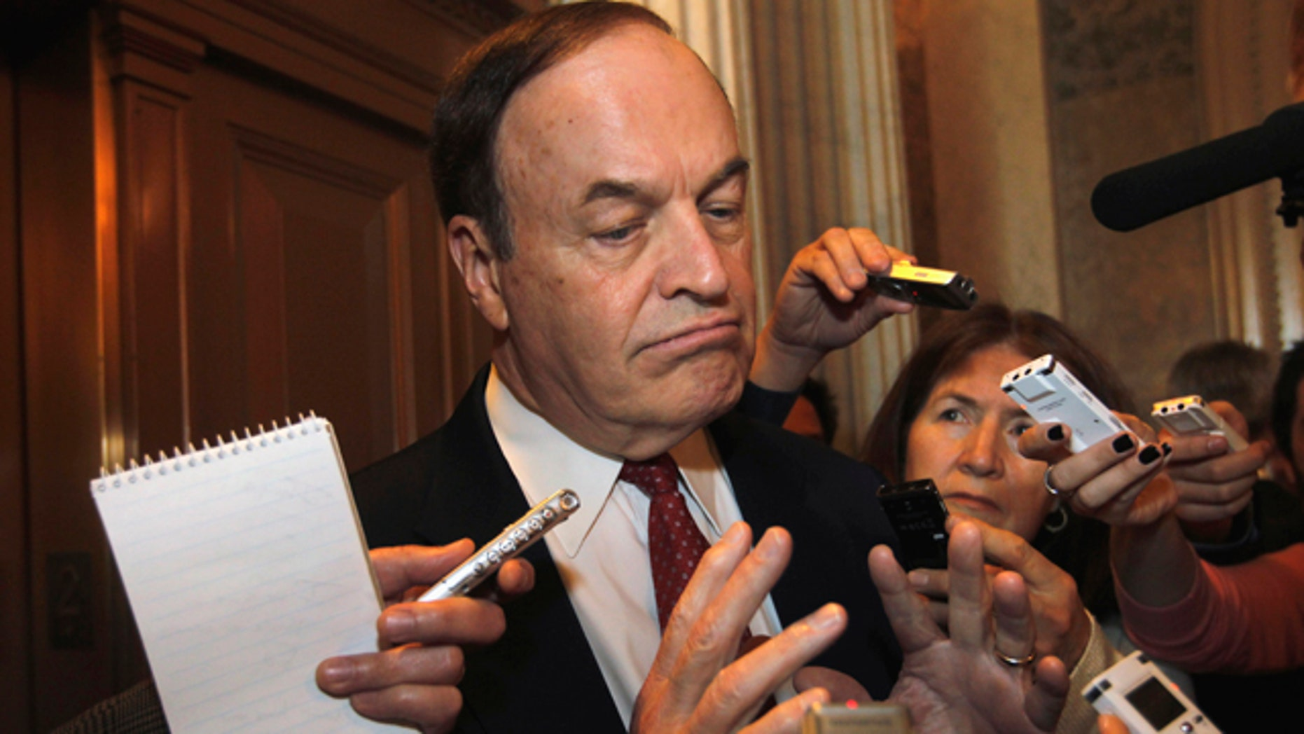 April 28: The Senate Banking Committee's ranking Republican Sen. Richard Shelby, R-Ala., talks to reporters on Capitol Hill in Washington.