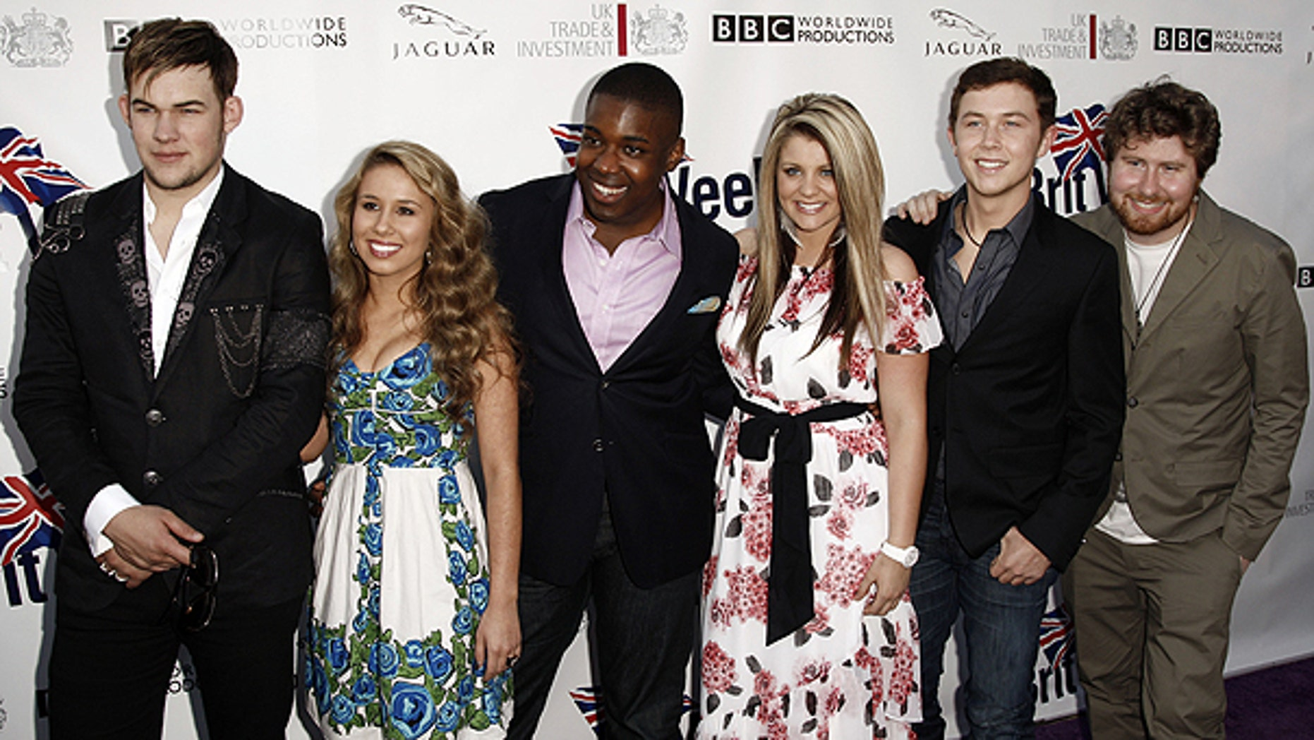 April 26: From left, 'American Idol' contestants James Durbin, Haley Reinhart, Jacob Lusk, Lauren Alaina, Scotty McCreery, and Casey Abrams arrive at the champagne launch of the fifth annual BritWeek in Los Angeles.