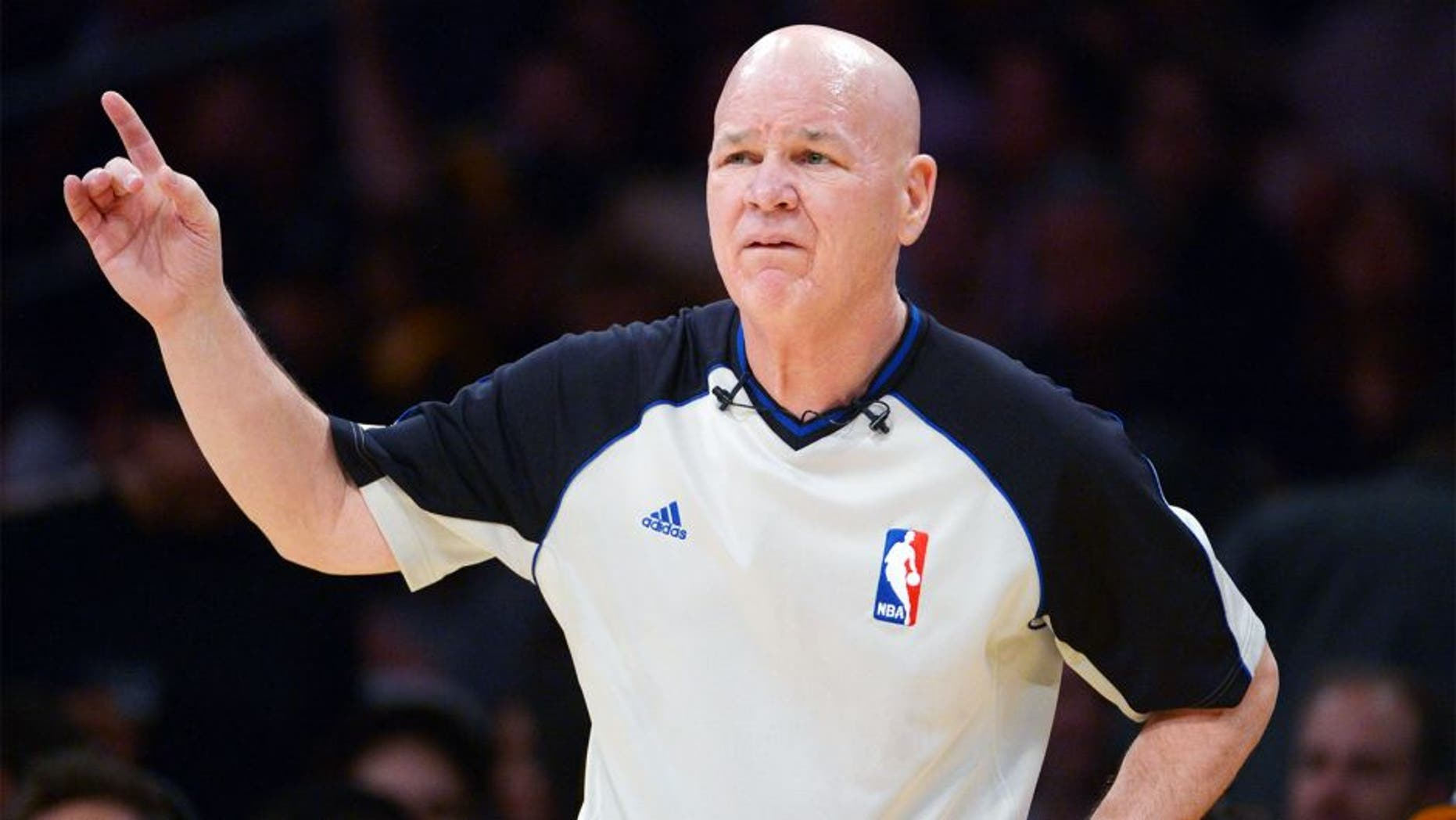 Dec 10, 2013; Los Angeles, CA, USA; NBA referee Joey Crawford during the game between the Phoenix Suns and the Los Angeles Lakers at Staples Center. The Suns defeated the Lakers 114-108. Mandatory Credit: Kirby Lee-USA TODAY Sports