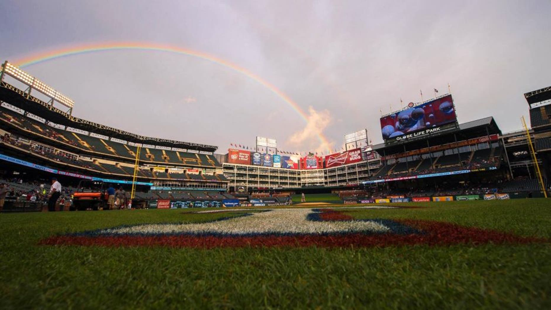 Apr 27, 2015; Arlington, TX, USA; A view of a rainbow above the field before the game between the Texas Rangers and the Seattle Mariners at Globe Life Park in Arlington. Mandatory Credit: Jerome Miron-USA TODAY Sports