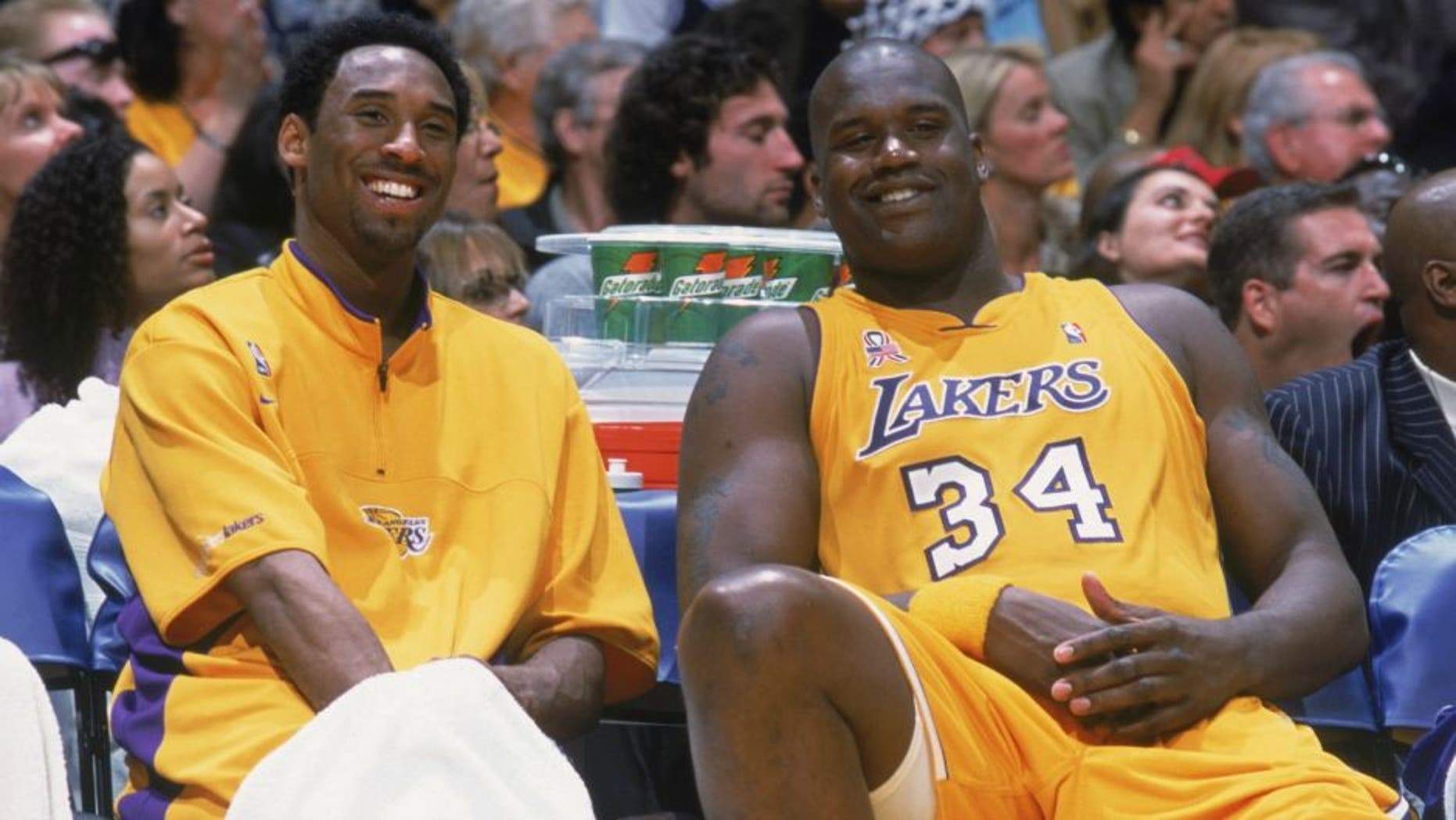 17 Apr 2002: Kobe Bryant #8 of the Los Angeles Lakers talks with his teammate, Shaquille O''Neal #34, during the NBA game against the Sacramento Kings at the Staples Center in Los Angeles, California. The Lakers won, 109-95.  NOTE TO USER: User expressly acknowledges and agrees that, by downloading and/or using this Photograph, User is consenting to the terms and conditions of the Getty Images License Agreement.  Mandatory copyright notice: Copyright 2002 NBAE  Mandatory Credit: Andrew D Bernstein/NBAE/Getty Images