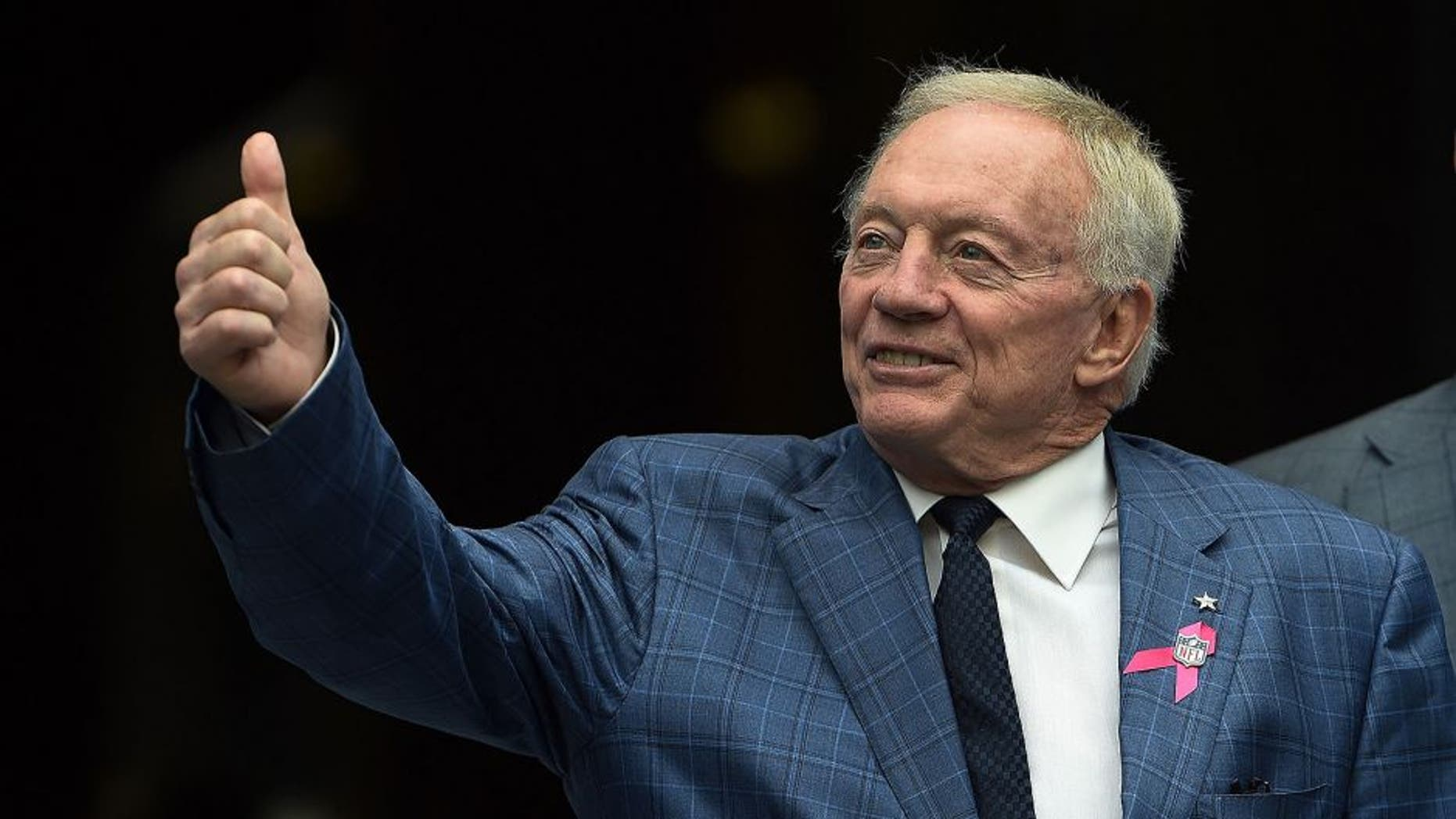 SEATTLE, WA - OCTOBER 12: Owner Jerry Jones of the Dallas Cowboys gives the 'thumbs up' to some Cowboys fans before the game aagainst the Seattle Seahawks at CenturyLink Field on October 12, 2014 in Seattle, Washington. (Photo by Steve Dykes/Getty Images)