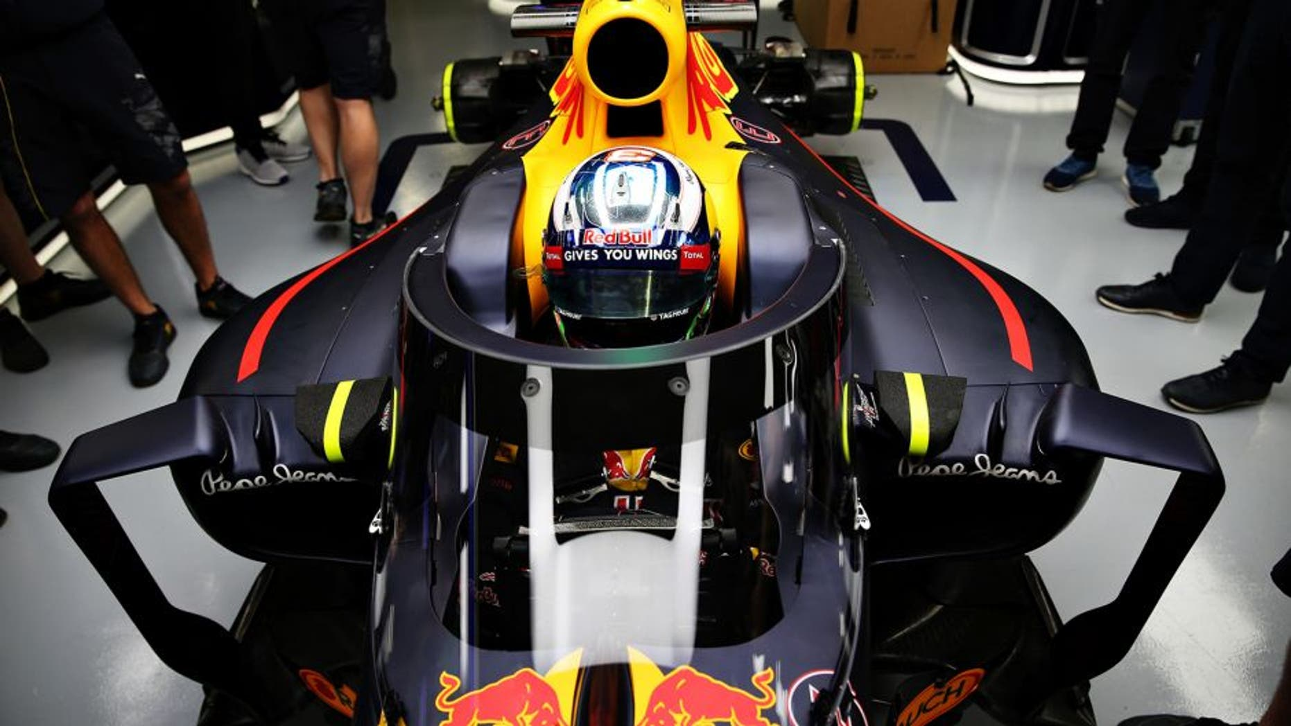 Sochi Autodrom, Sochi, Russia. Thursday 28 April 2016. The prototype Red Bull Racing aeroscreen mounted on the Red Bull Racing Red Bull-TAG Heuer RB12 TAG Heuer in the garage on Thursday ahead of the Formula One Grand Prix of Russia at Sochi Autodrom on April 28, 2016 in Sochi, Russia. Daniel Ricciardo, Red Bull Racing, is behind the wheel. Ref: 605547879_MT_4008_B80D4DEBB6F1907D086A2CD3D8748689 World Copyright - Red Bull/LAT Photographic
