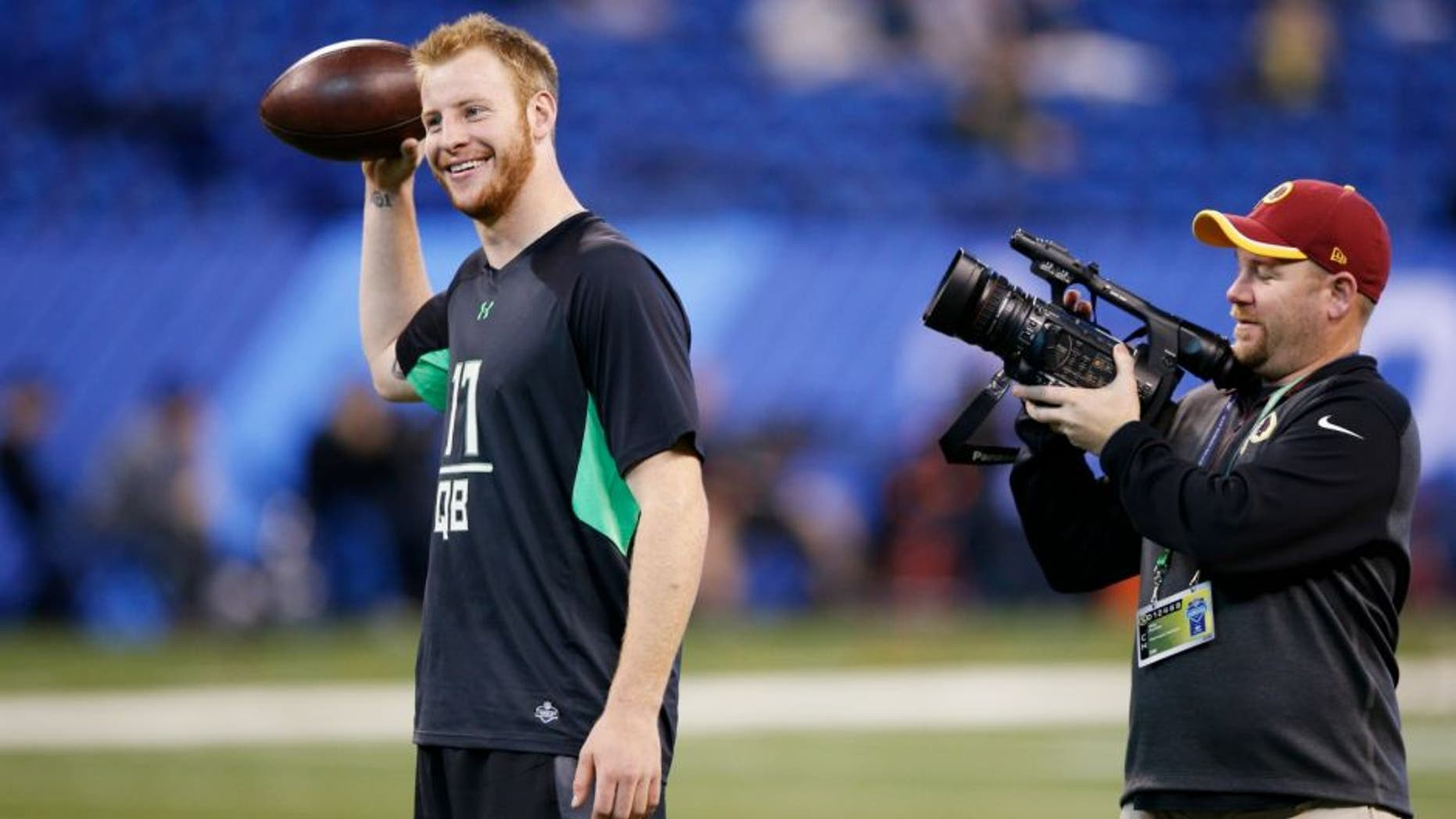 INDIANAPOLIS, IN - FEBRUARY 27: Quarterback Carson Wentz of North Dakota State looks on during the 2016 NFL Scouting Combine at Lucas Oil Stadium on February 27, 2016 in Indianapolis, Indiana. (Photo by Joe Robbins/Getty Images)