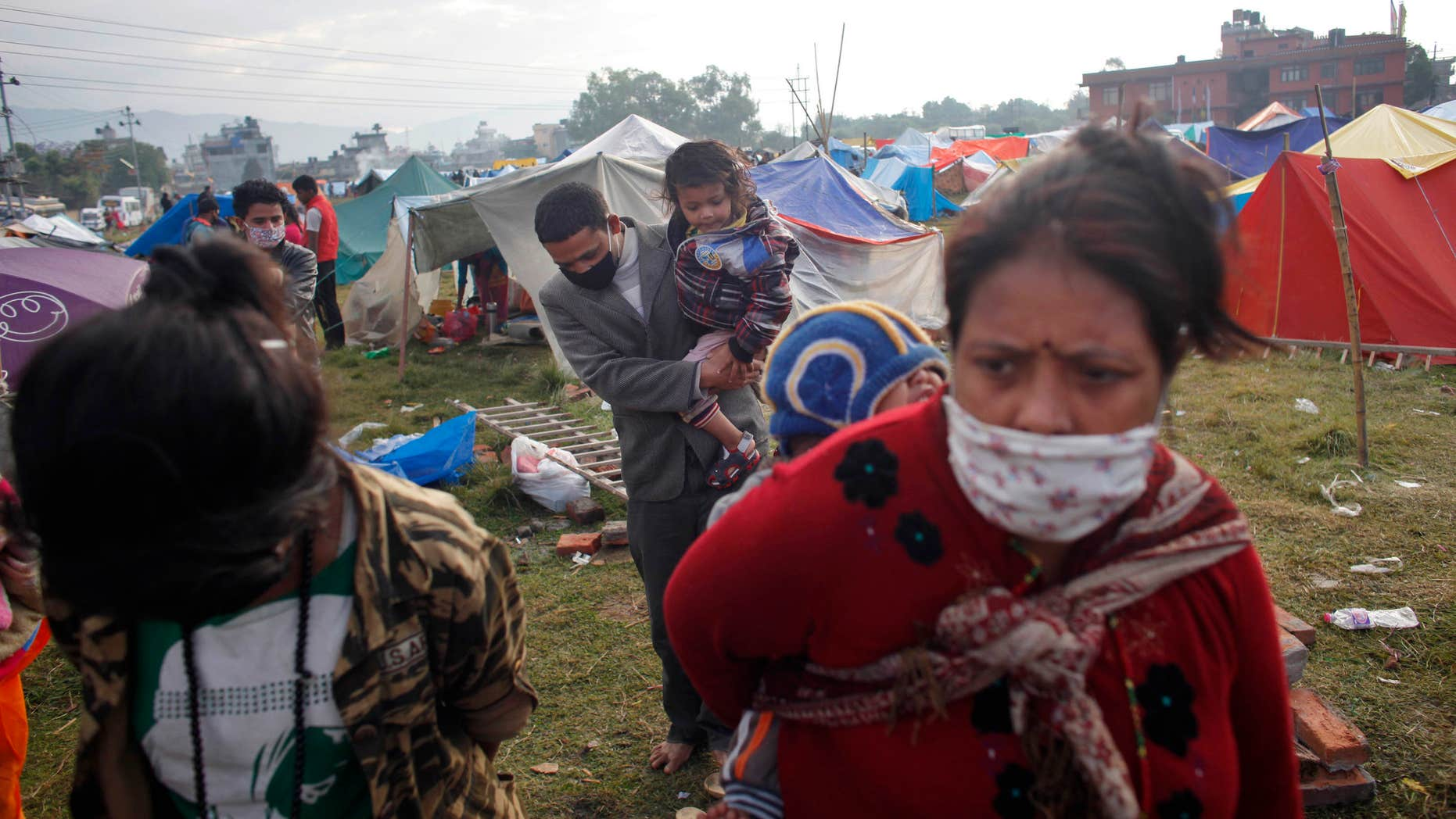 April 29, 2015: Nepalese people prepare to go back home after sleeping on open grounds for four nights to be safe from earthquake in Kathmandu, Nepal.