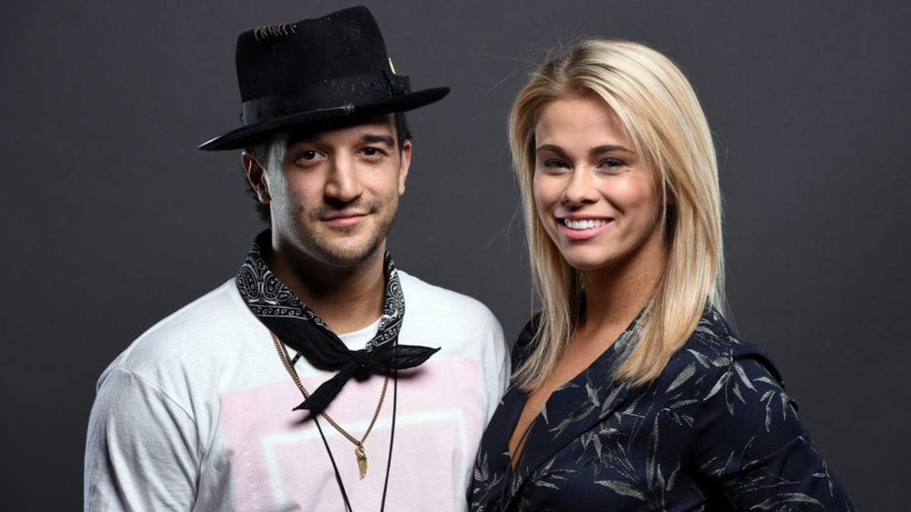 LAS VEGAS, NV - APRIL 22: Mark Ballas (L) and Paige VanZant pose for a portrait backstage during the UFC 197 weigh-in at MGM Grand Garden Arena on April 22, 2016 in Las Vegas, Nevada. (Photo by Mike Roach/Zuffa LLC/Zuffa LLC via Getty Images)