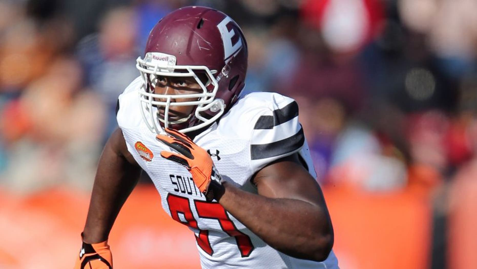 Jan 30, 2016; Mobile, AL, USA; South squad defensive end Noah Spence of Eastern Kentucky (97) in the second quarter of the Senior Bowl at Ladd-Peebles Stadium. Mandatory Credit: Chuck Cook-USA TODAY Sports
