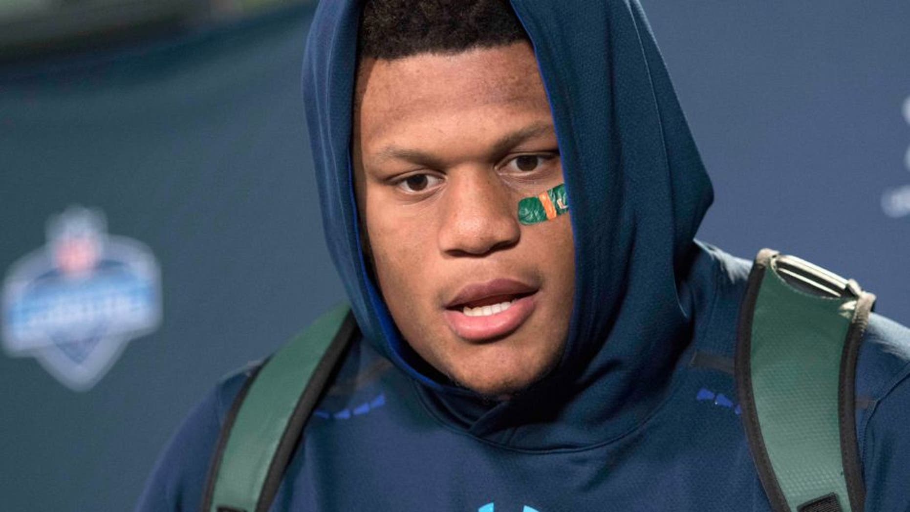 Feb 20, 2015; Indianapolis, IN, USA; Miami offensive lineman Ereck Flowers speaks to the media at the 2015 NFL Combine at Lucas Oil Stadium. Mandatory Credit: Trevor Ruszkowski-USA TODAY Sports