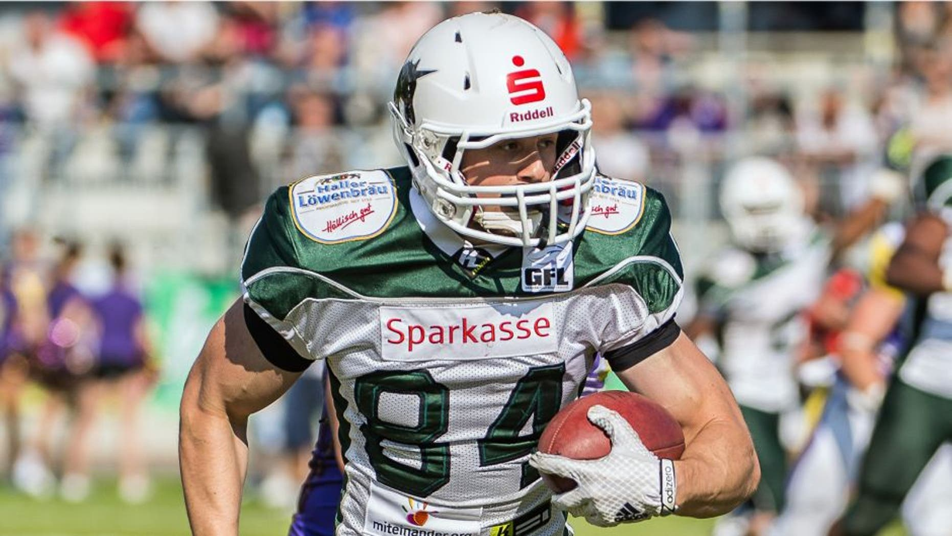 Moritz Boehringer, Wide Receiver of Schwaebisch Hall Unicorns, during a match between Schwaebisch Hall Unicorns and Vienna Vikings in Vienna, Austria, 17 May 2015. With a 45:23 victory, the team qualified for the Eurobowl for the first time. Boehringer is said to have realistic chances to be drafted during the draft in Chicago on Saturday. The 22-year-old would be the first German from the German Football League to receive a contract. Photo by: Manfred Löffler/picture-alliance/dpa/AP Images