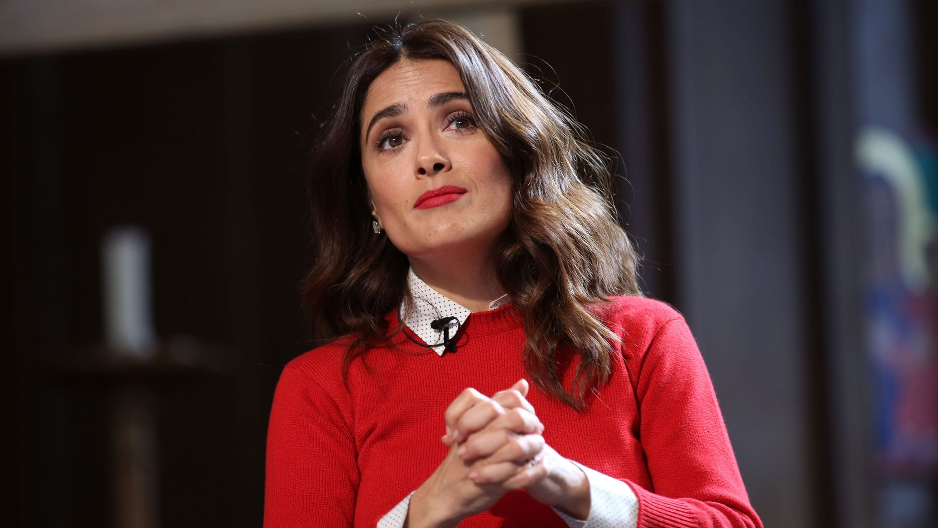 LONDON, ENGLAND - MARCH 23:  Salma Hayek speaks during The Facebook Creative Talks Part 1, as part of Advertising Week Europe, Piccadilly, on March 23, 2015 in London, England.  (Photo by Tim Whitby/Getty Images for Advertising Week)