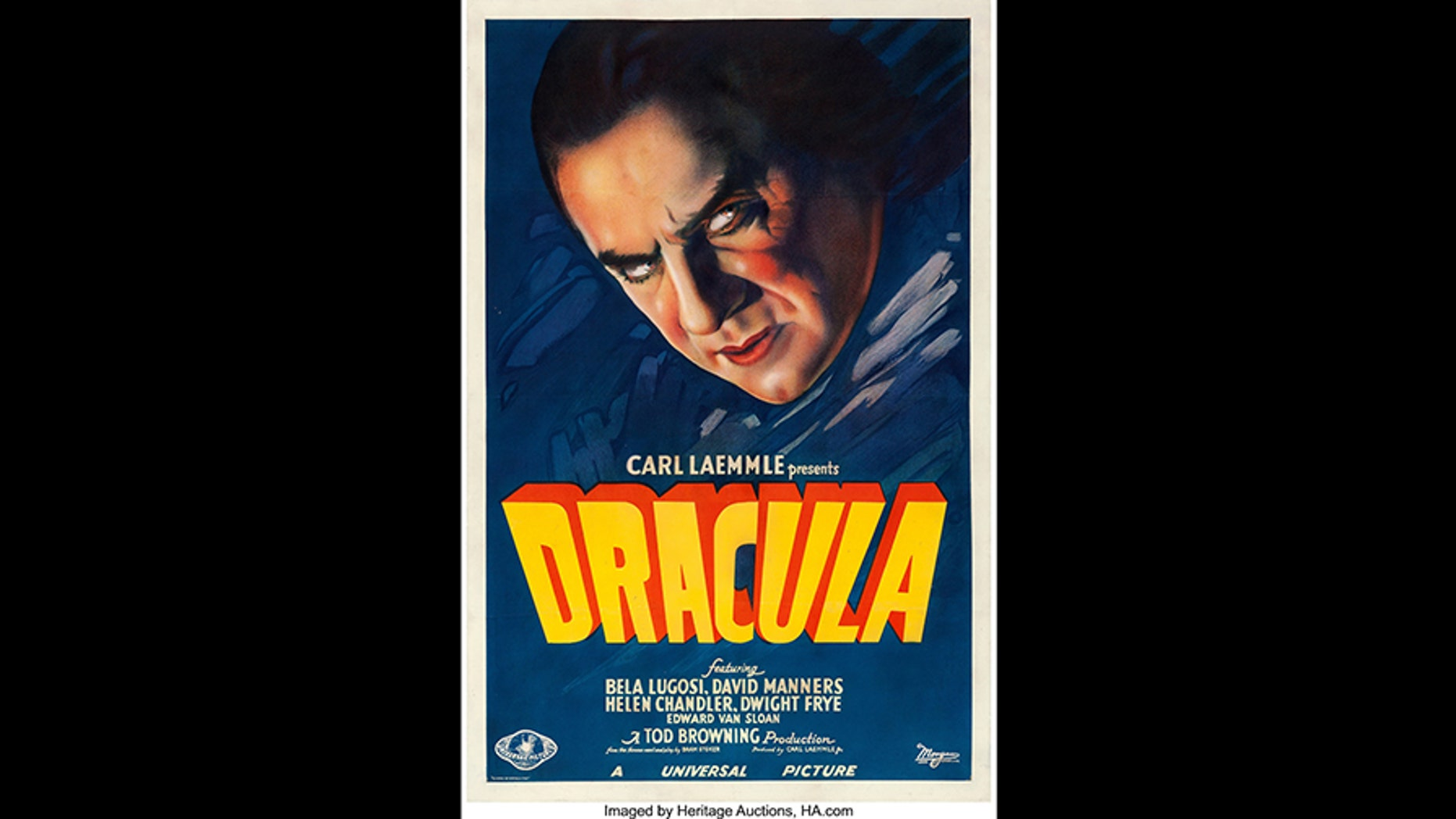 """A rare poster for the 1931 horror film """"Dracula"""" has sold for $525,800. Dallas-based Heritage Auctions said the sale on Saturday appears to be the highest amount a movie poster has garnered at auction. Heritage says the poster, which features the image of actor Bela Lugosi as Dracula, is one of only two known surviving of that particular version. (Photo Courtesy Heritage Auctions via AP)"""