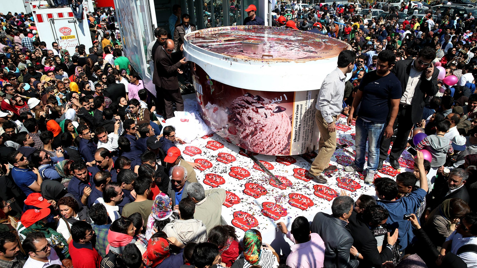 5-tons of ice-cream made by Iranian Choopan dairy is displayed during a ceremony at the Tochal mountainous area of northern Tehran, Iran.
