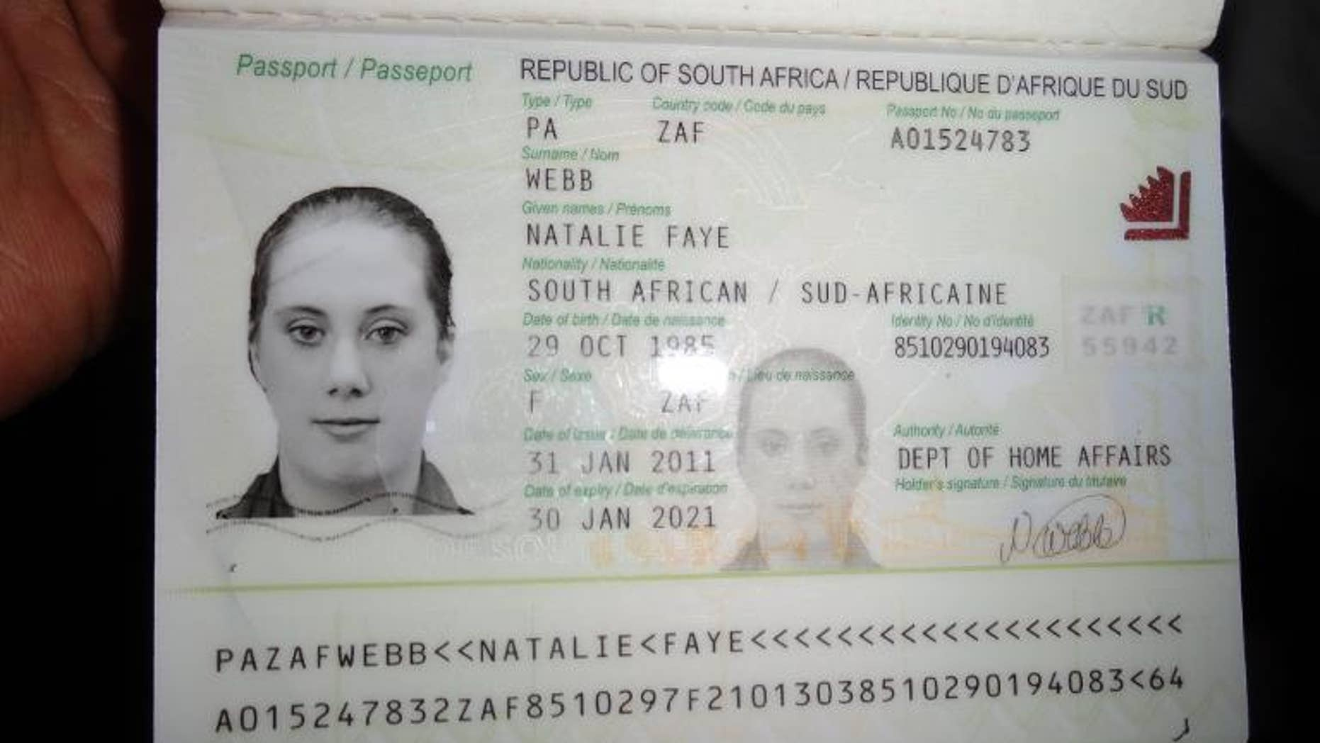 A photo of Samantha Lewthwaite's fake South African passport that was released by Kenyan police in December 2011