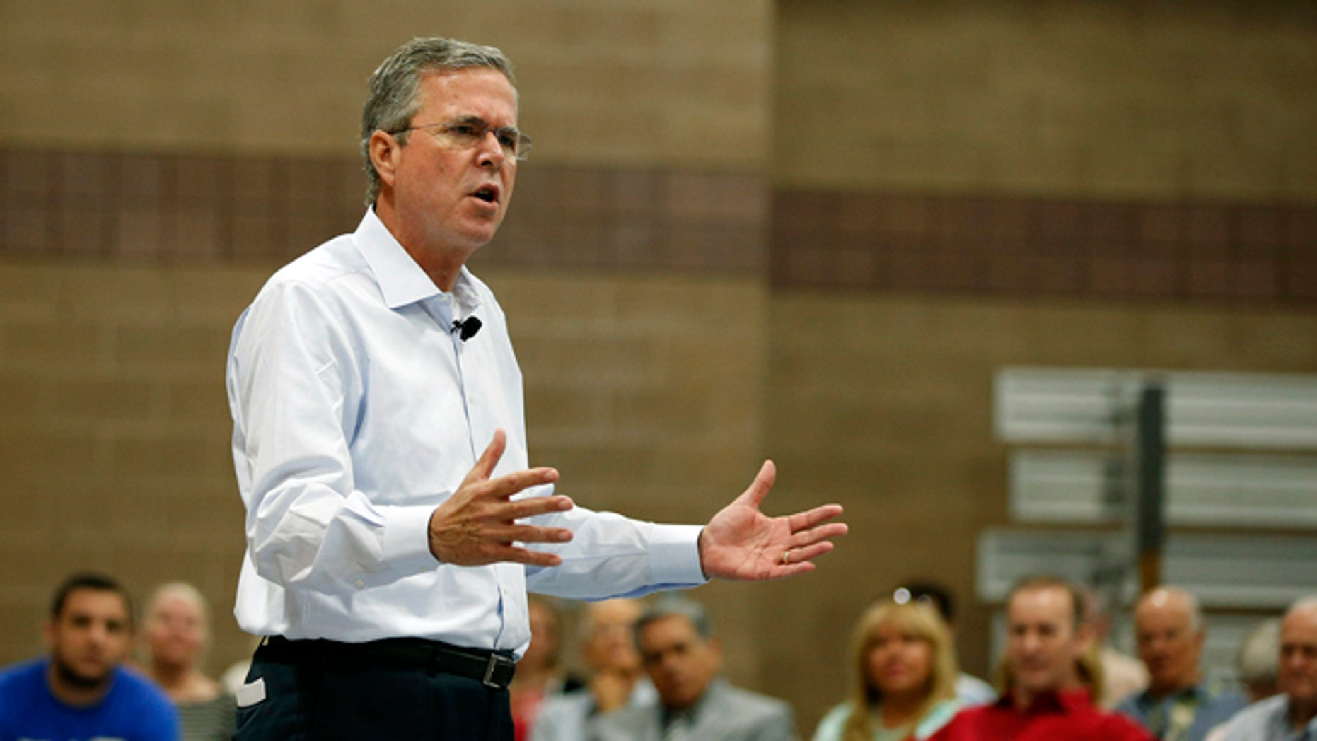Republican presidential candidate, former Florida Gov. Jeb Bush speaks at a campaign event Saturday, June 27, 2015, in Henderson, Nev. (AP Photo/John Locher)