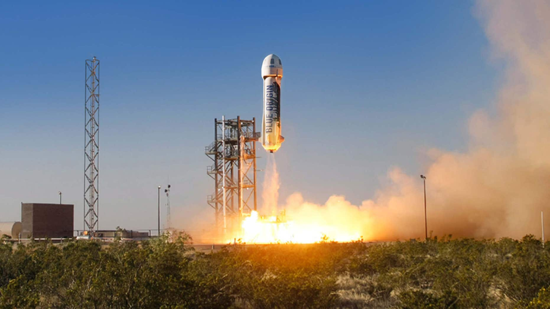 April 29, 2015: The New Shepard space vehicle blasts off on its first developmental test flight over Blue Origin's west Texas Launch Site.