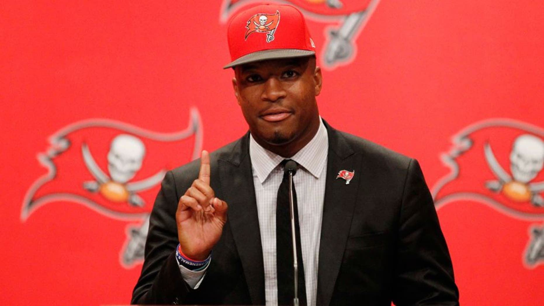 May 1, 2015; Tampa, FL, USA; Tampa Bay Buccaneers quarterback Jameis Winston (3) is introduced at a press conference at One Buc Place the day after being selected as the number one overall pick in the 2015 NFL Draft. Mandatory Credit: Kim Klement-USA TODAY Sports