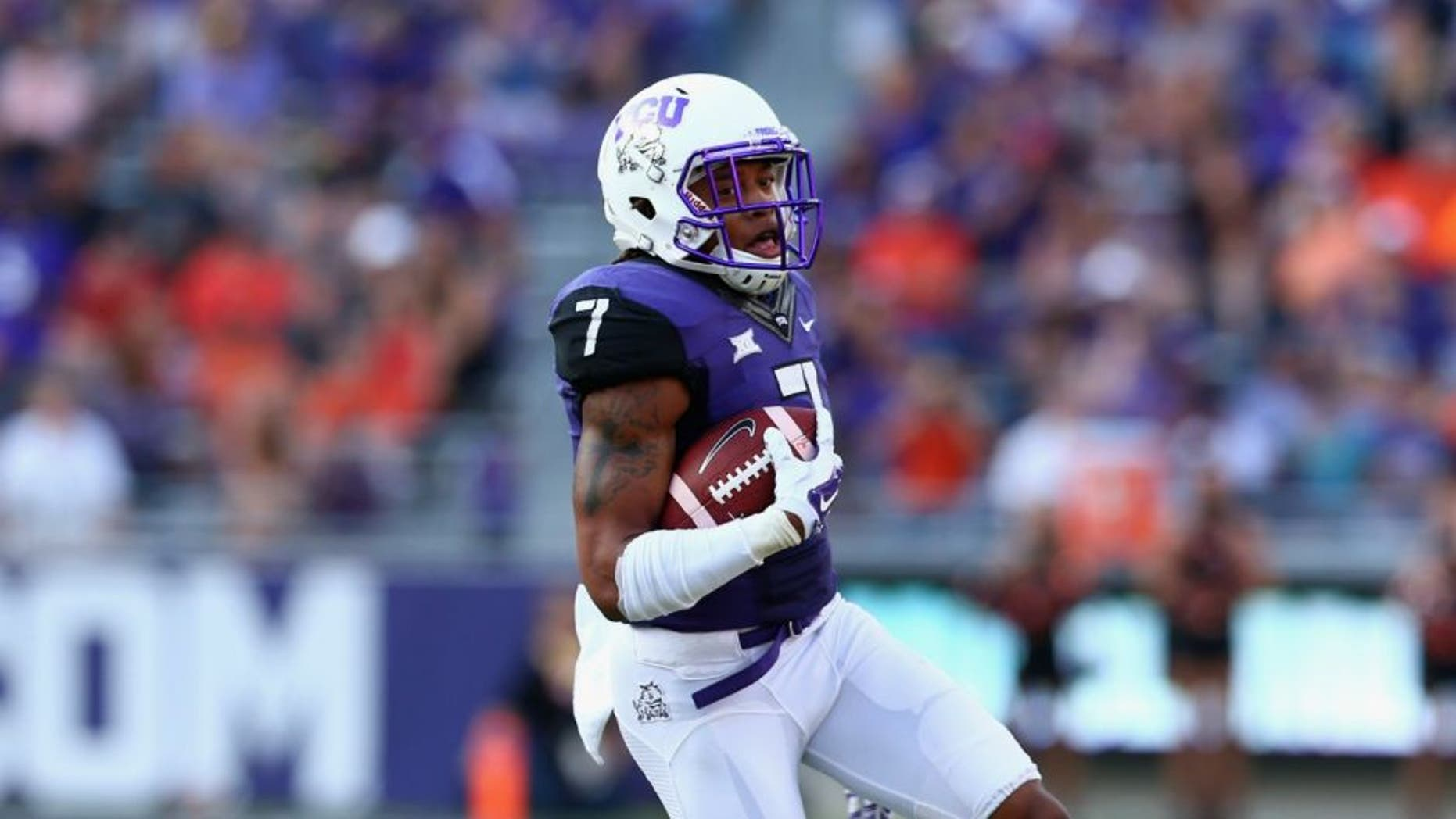 at Amon G. Carter Stadium on October 18, 2014 in Fort Worth, Texas.
