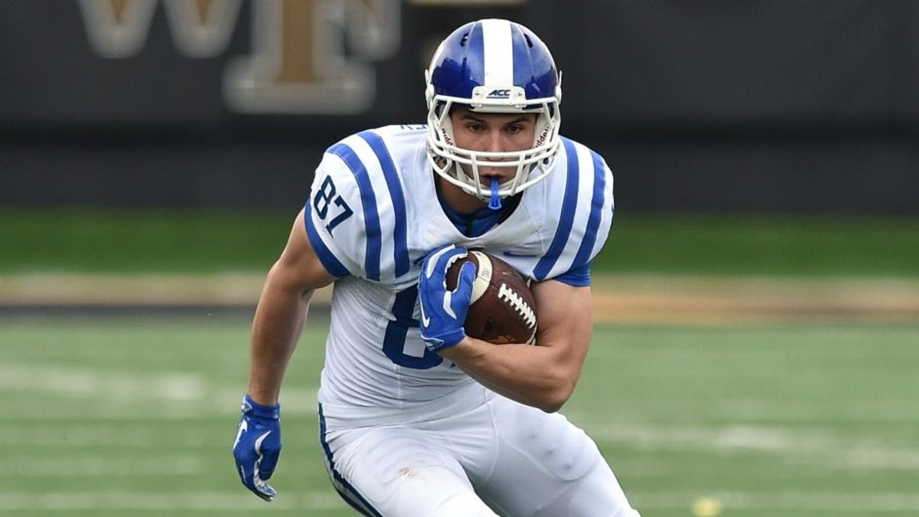 WINSTON-SALEM, NC - NOVEMBER 28: Max McCaffrey #87 of the Duke Blue Devils runs with the ball against the Wake Forest Demon Deacons at BB&T Field on November 28, 2015 in Winston-Salem, North Carolina. Duke defeated Wake Forest 27-21. (Photo by Lance King/Getty Images)