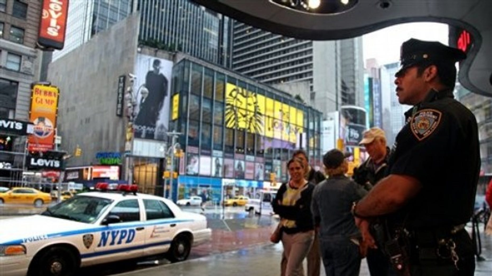 May 3, 2010: A New York City police officer stands watch on Times Square in the wake of a car bomb attempt carried out by a Pakistani-American man.