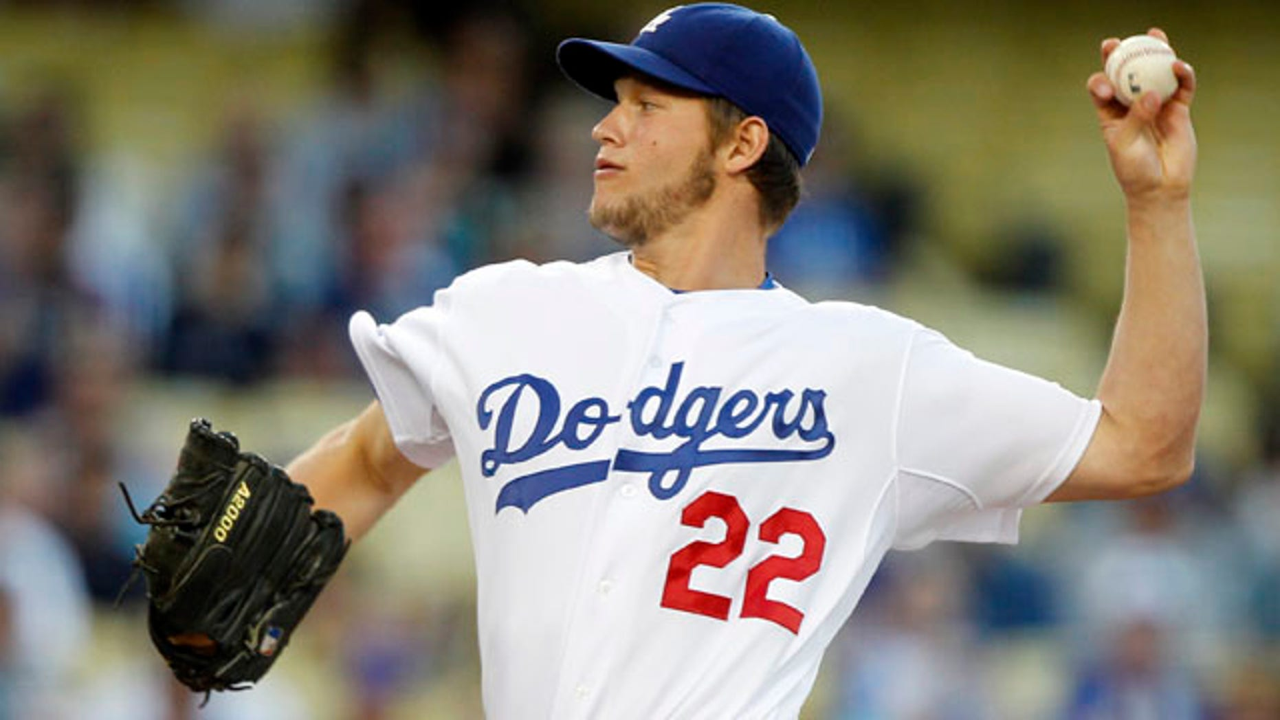 May 2: Los Angeles Dodgers starting pitcher Clayton Kershaw works against the Chicago Cubs during the first inning of a baseball game in Los Angeles.