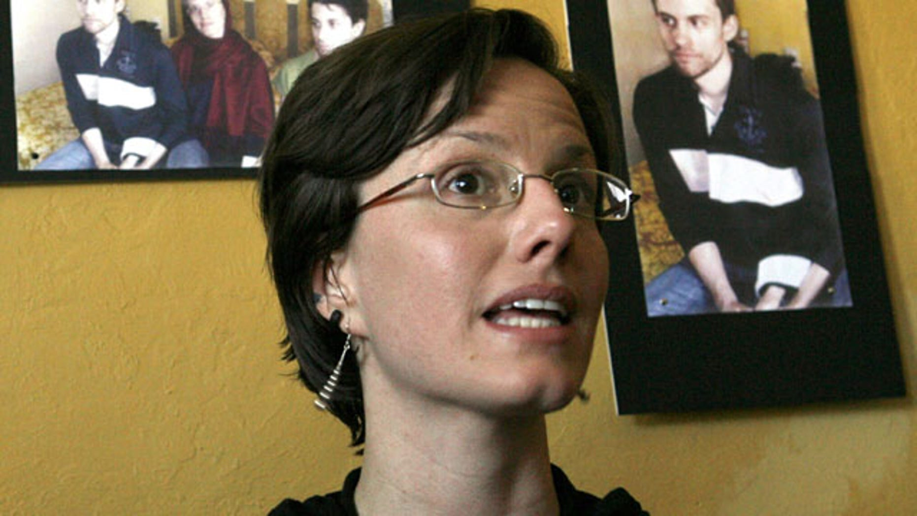 This Oct. 9, 2010, file photo shows Sarah Shourd speaking to the media in Oakland, Calif.