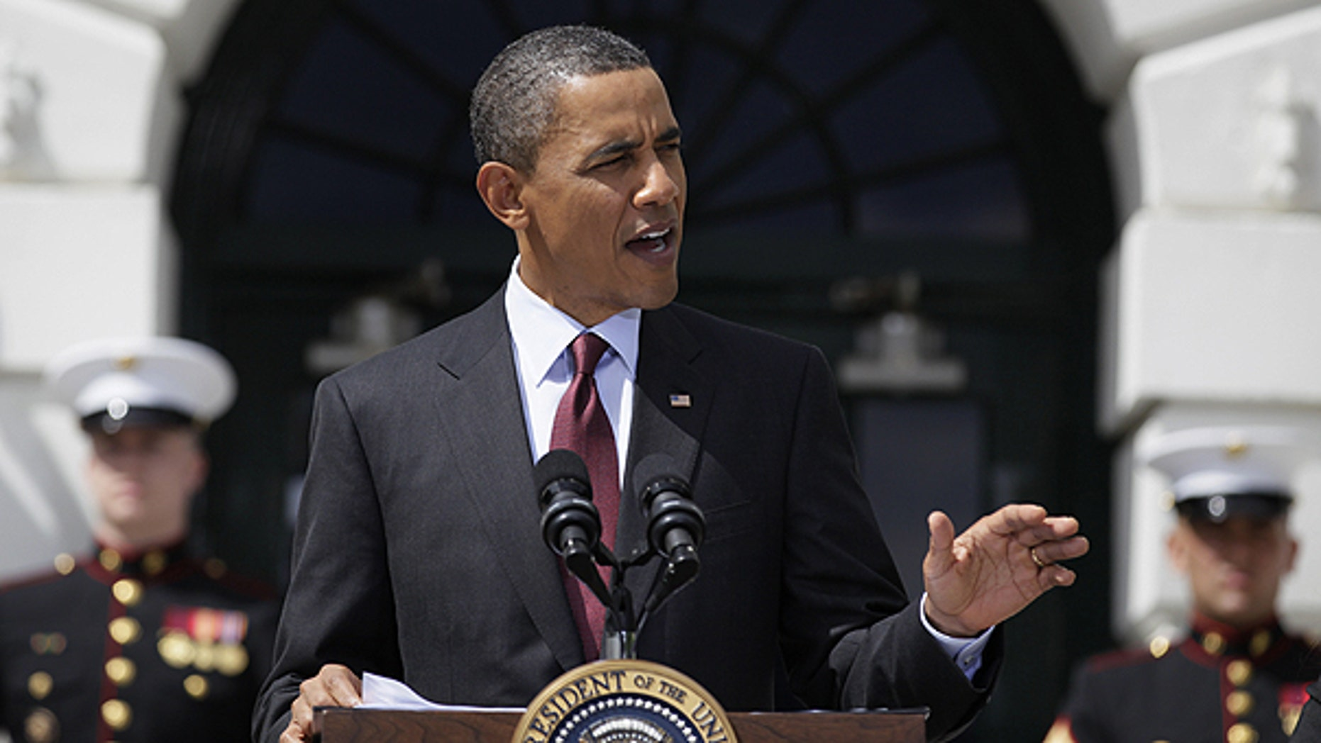 May 4: Obama speaks as he welcomes the Wounded Warrior Project's Soldier Ride on the South Lawn of the White House.