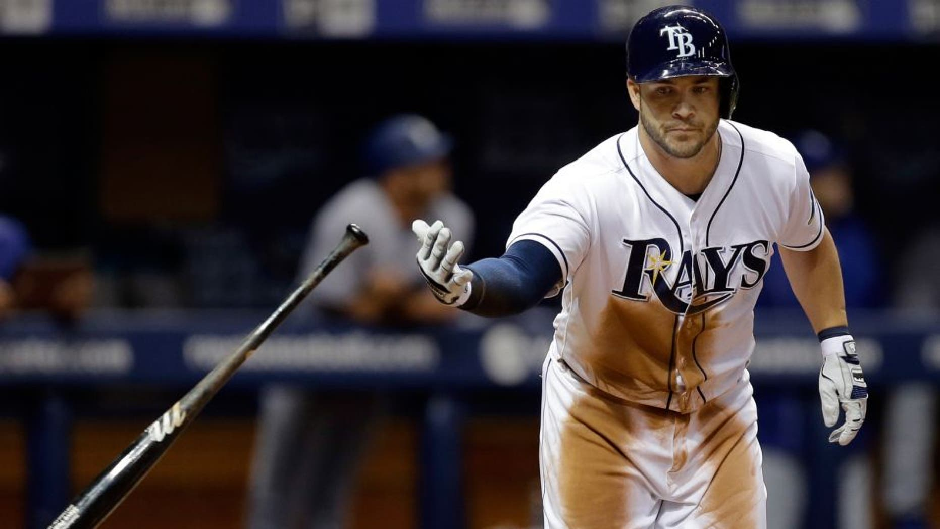 Tampa Bay Rays' Steve Pearce flips his bat after hitting a three-run home run off Los Angeles Dodgers starting pitcher Alex Wood during the sixth inning of an interleague baseball game Wednesday, May 4, 2016, in St. Petersburg, Fla. Rays' Brandon Guyer and Evan Longoria also scored. (AP Photo/Chris O'Meara)