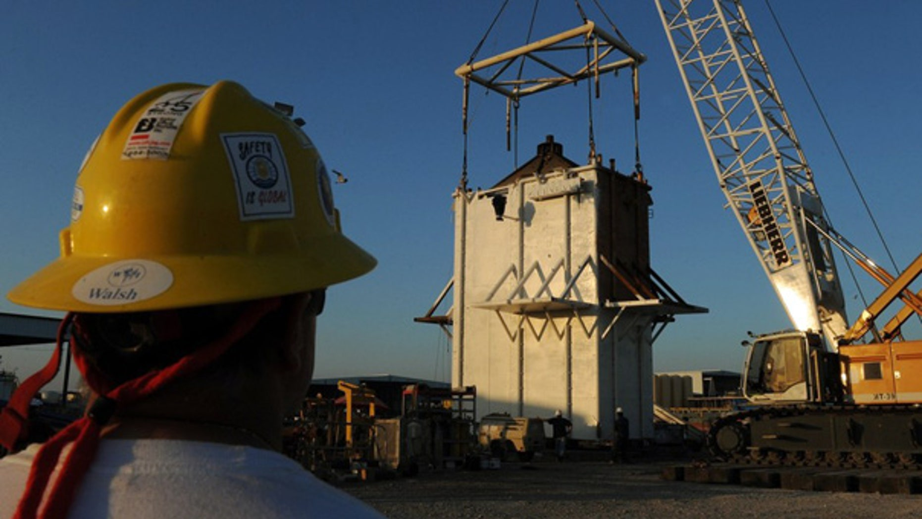 May 4: Workers put the finishing touches on the Pollution Control Dome in Port Fourchon.