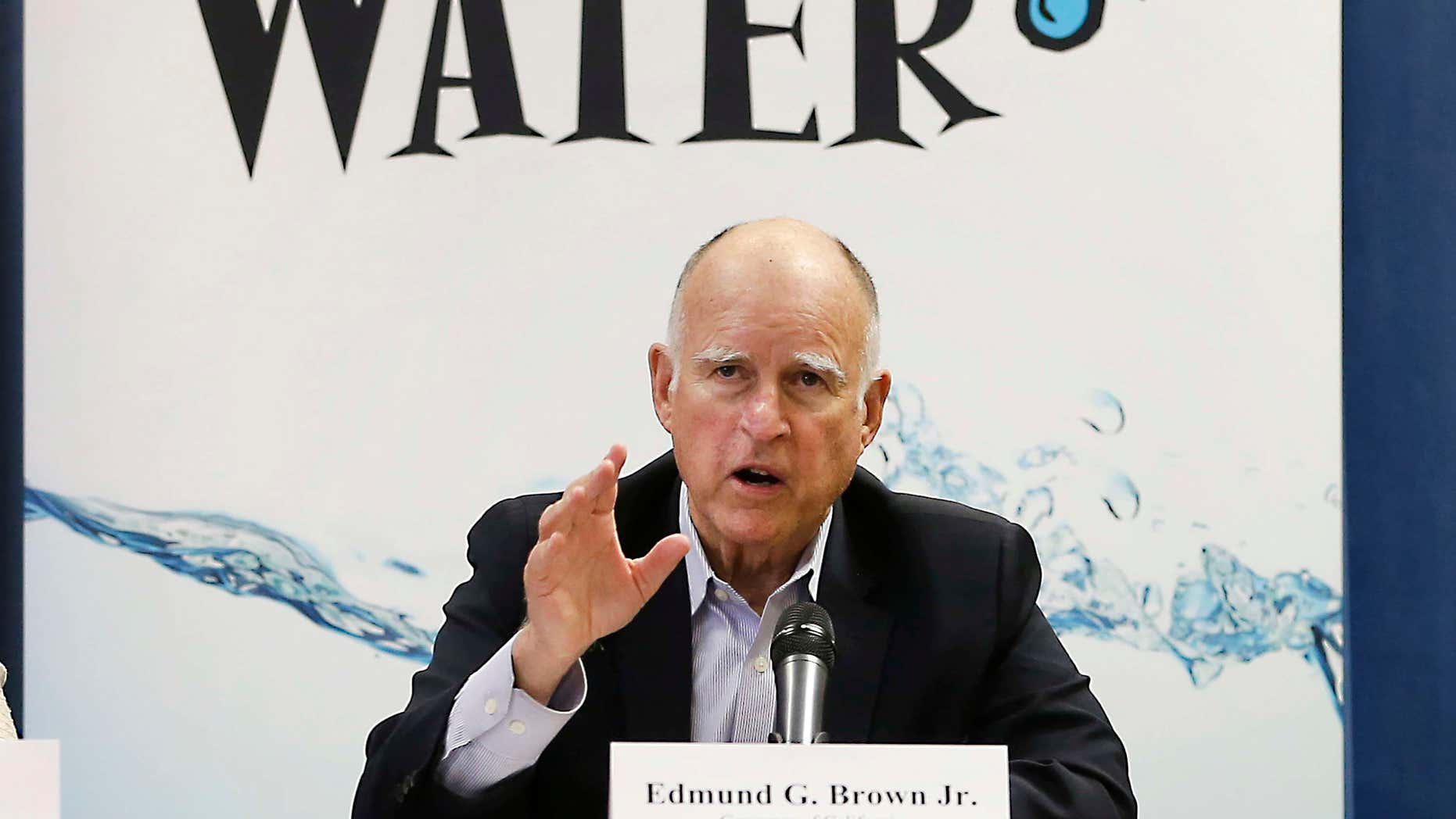 April 16, 2015: California Gov. Jerry Brown talks with reporters after a meeting about the drought at his Capitol office in Sacramento, Calif.