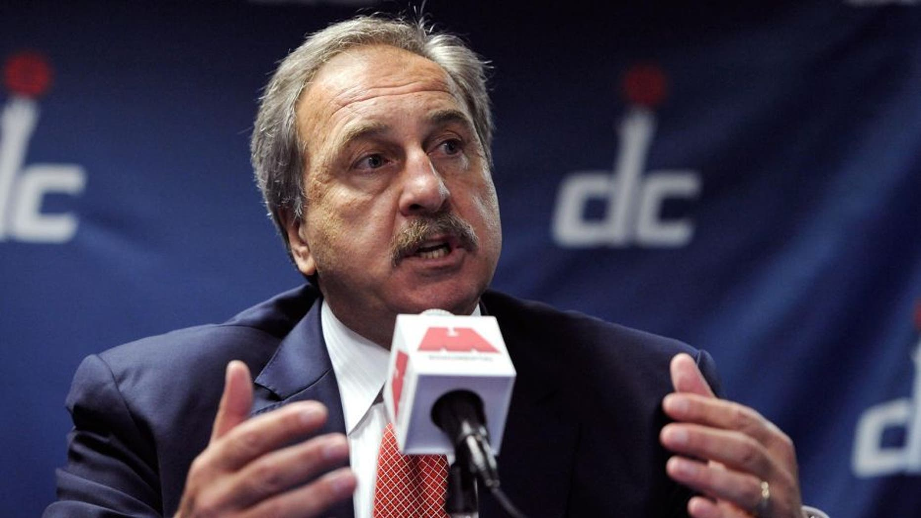 Jun 28, 2013; Washington, DC, USA; Washington Wizards general manager Ernie Grunfeld speaks to the media during a press conference to introduce Otto Porter Jr. at Verizon Center. Porter was selected with the third pick of the first round in the 2013 NBA Draft. Mandatory Credit: Rafael Suanes-USA TODAY Sports
