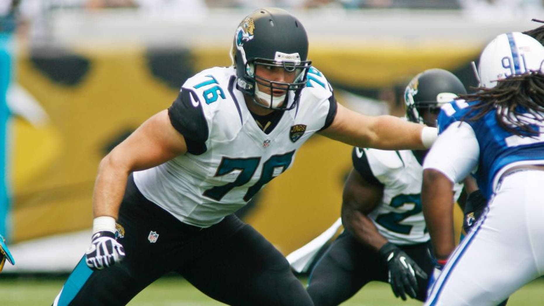 Sep 29, 2013; Jacksonville, FL, USA; Jacksonville Jaguars tackle Luke Joeckel (76) in the first quarter of their game against the Indianapolis Colts at EverBank Field. The Indianapolis Colts beat the Jacksonville Jaguars 37-3. Mandatory Credit: Phil Sears-USA TODAY Sports