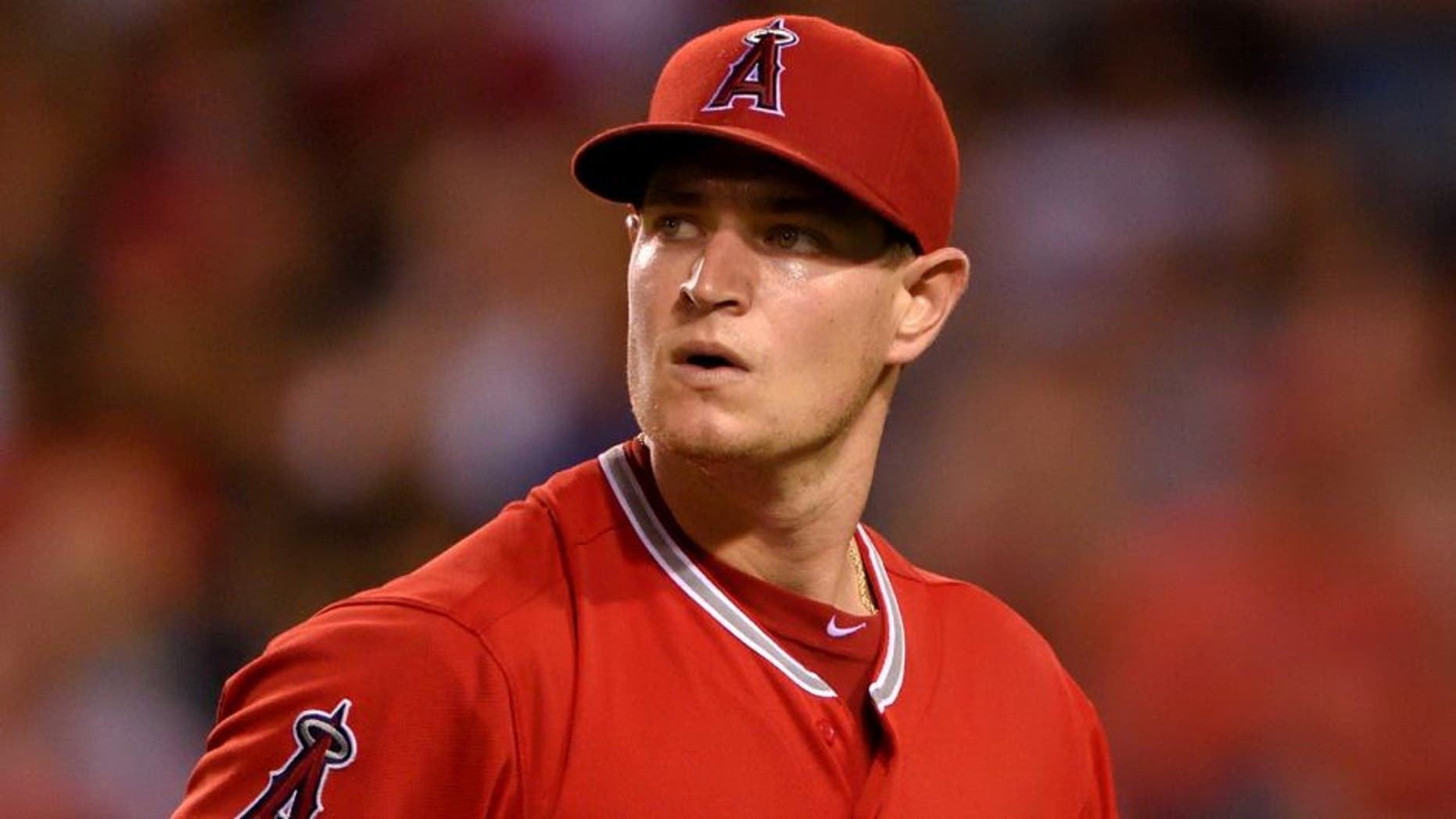 ANAHEIM, CA - SEPTEMBER 25: Garrett Richards #43 of the Los Angeles Angels of Anaheim reacts during the sixth inning of the game against the Seattle Mariners at Angel Stadium of Anaheim on September 25, 2015 in Anaheim, California. (Photo by Matt Brown/Angels Baseball LP/Getty Images)