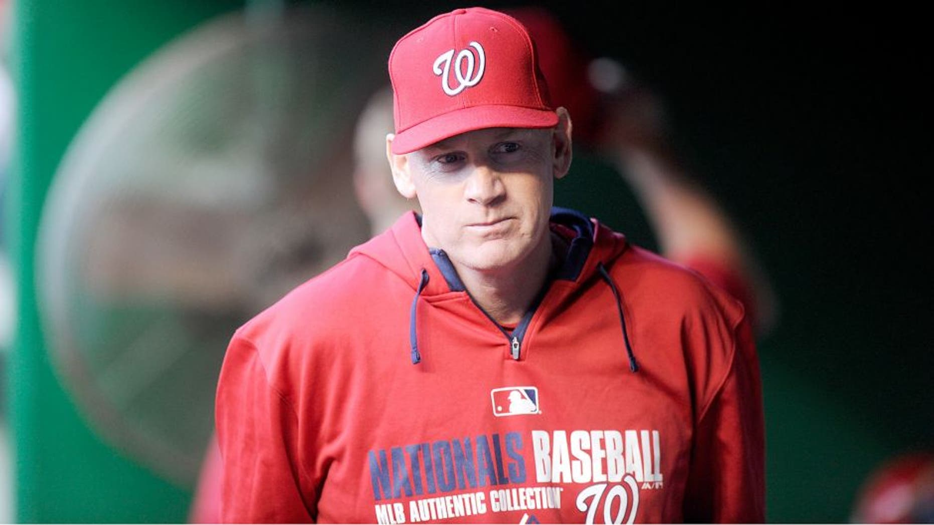 WASHINGTON, DC - APRIL 21: Manager Matt Williams #9 of the Washington Nationals watches the game against the Los Angeles Angels at Nationals Park on April 21, 2014 in Washington, DC. (Photo by G Fiume/Getty Images)