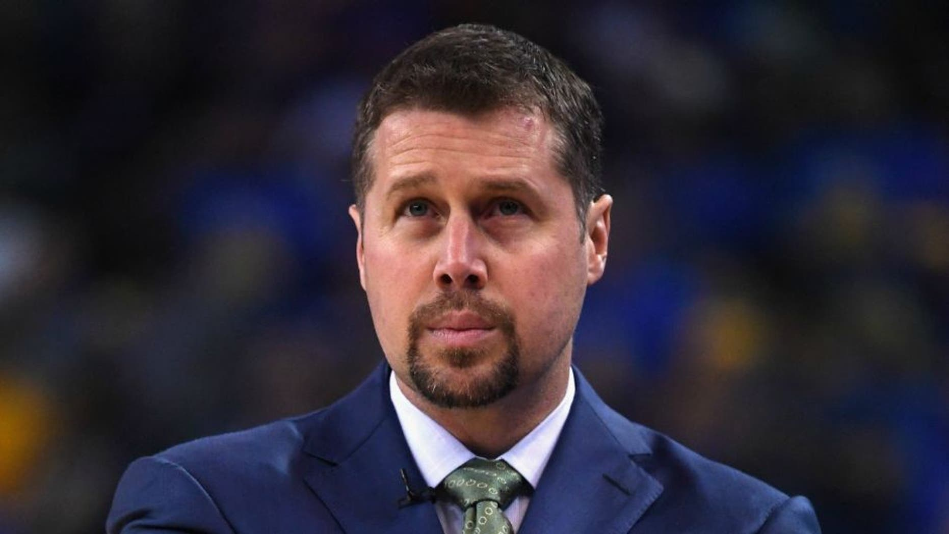 OAKLAND, CA - APRIL 13: Head coach David Joerger of the Memphis Grizzlies looks on during the game against the Golden State Warriors at ORACLE Arena on April 13, 2016 in Oakland, California. (Photo by Thearon W. Henderson/Getty Images)