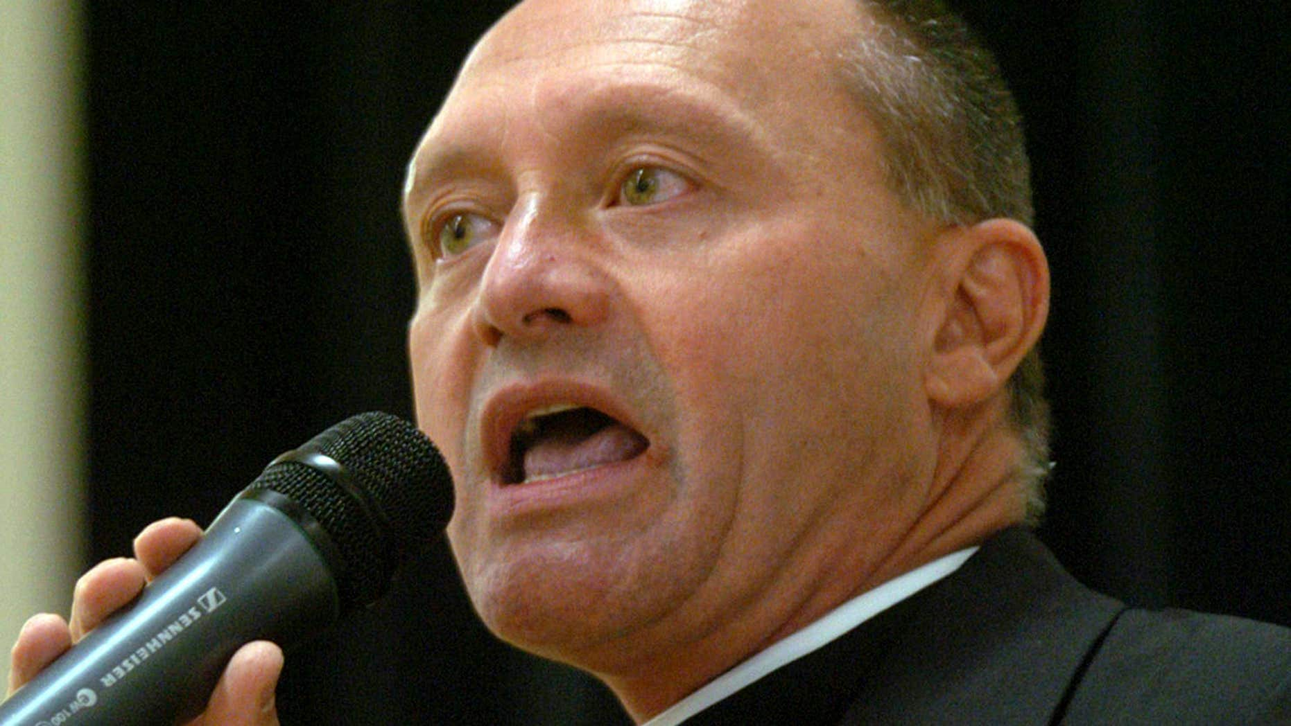 May 4, 2006: Monsignor Kevin Wallin speaks at the Catholic Center, headquarters of the Diocese of Bridgeport, in Bridgeport, Conn.