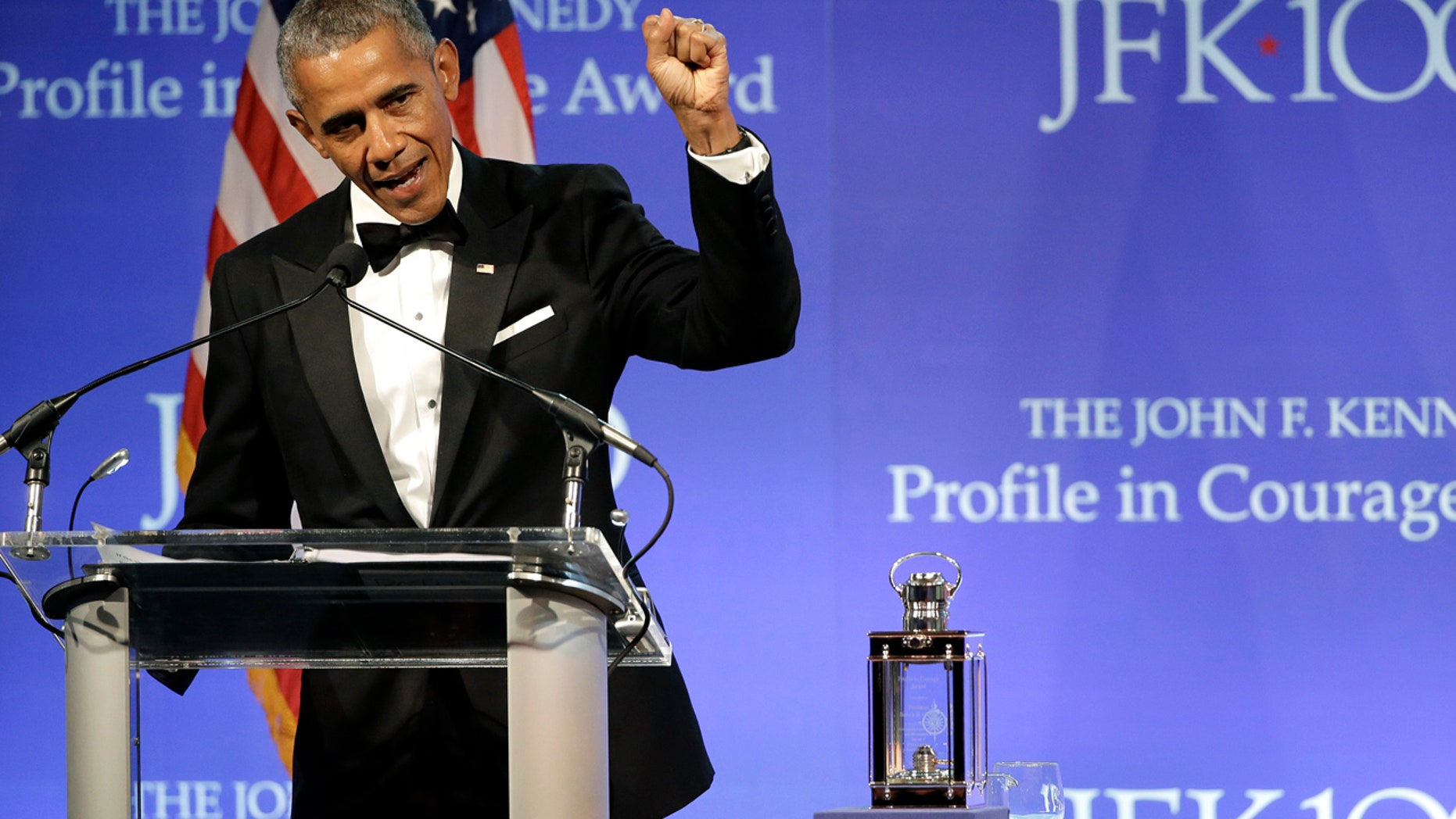 File photo: Former President Barack Obama speaks after being presented with the 2017 Profile in Courage award during ceremonies at the John F. Kennedy Presidential Library and Museum Sunday, May 7, 2017, in Boston. (AP Photo/Steven Senne)