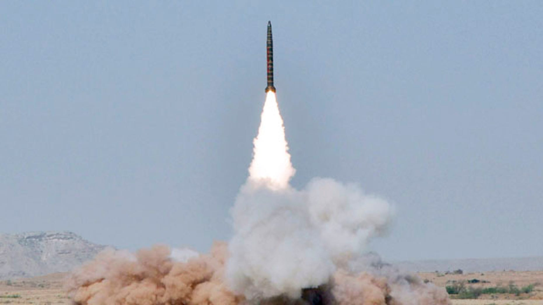 May 8: In this handout photo released by Pakistan's Inter Services Public Relations, a Ghaznavi missile is launched from an undisclosed location in Pakistan.