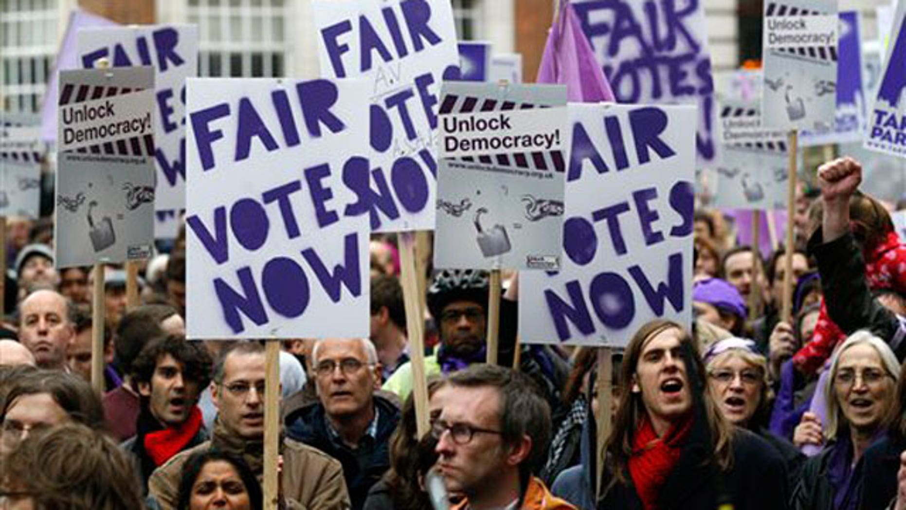 May 8: Protesters calling for a fair electorate system demonstrate outside the Local Government Association in London.