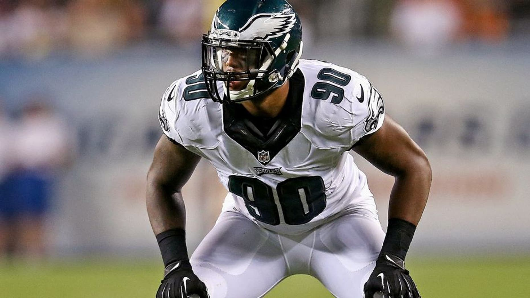 CHICAGO, IL - AUGUST 08: Marcus Smith II #90 of the Philadelphia Eagles during a preseason game against the Chicago Bears at Soldier Field on August 8, 2014 in Chicago, Illinois. (Photo by Jonathan Daniel/Getty Images)