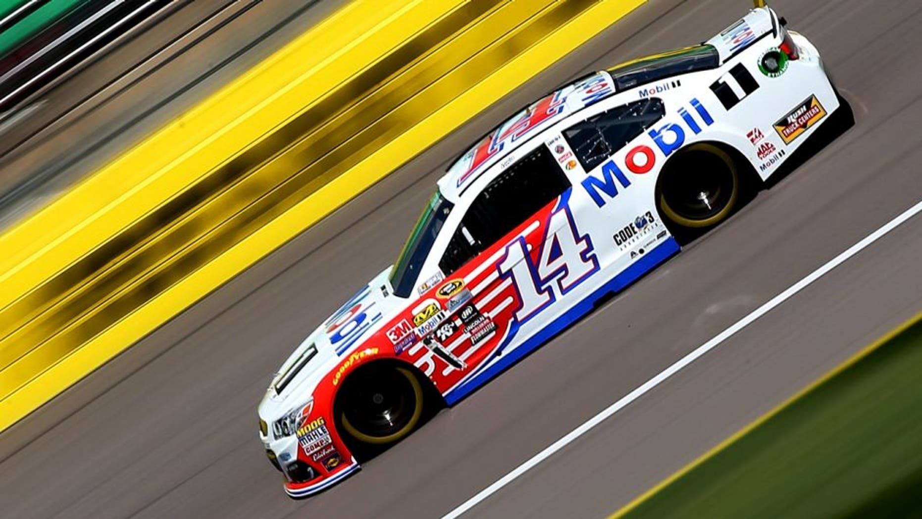 KANSAS CITY, KS - MAY 06: Tony Stewart, driver of the #14 Mobil 1 Chevrolet, drives during practice for the NASCAR Sprint Cup Series Go Bowling 400 at Kansas Speedway on May 6, 2016 in Kansas City, Kansas. (Photo by Sean Gardner/NASCAR via Getty Images)