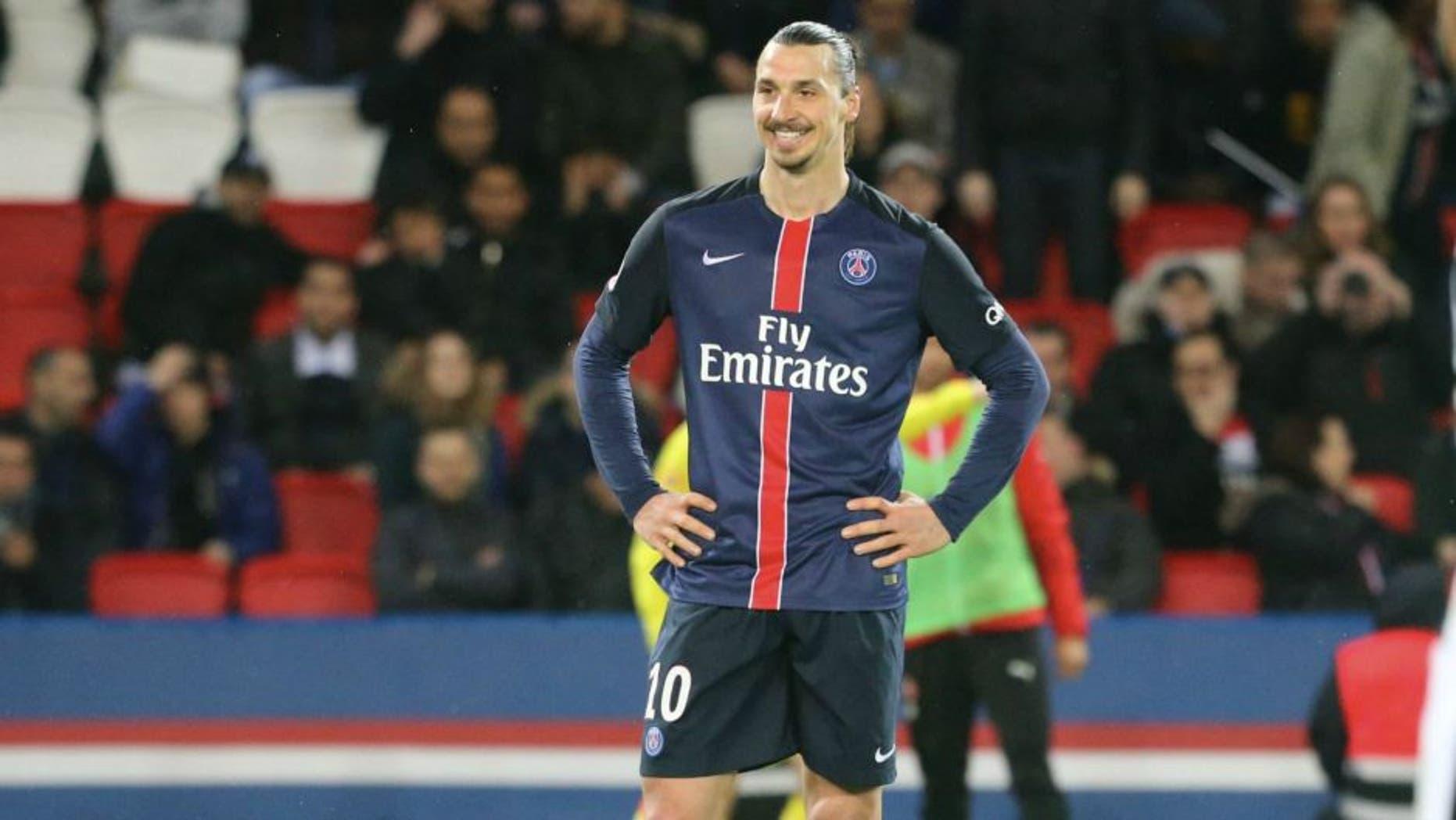 PARIS, FRANCE - APRIL 29: Zlatan Ibrahimovic of Paris Saint-Germain reacts during the French Ligue 1 match between Paris Saint-Germain and Stade Rennais at Parc des Princes on April 29, 2016 in Paris, France. (Photo by Xavier Laine/Getty Images)
