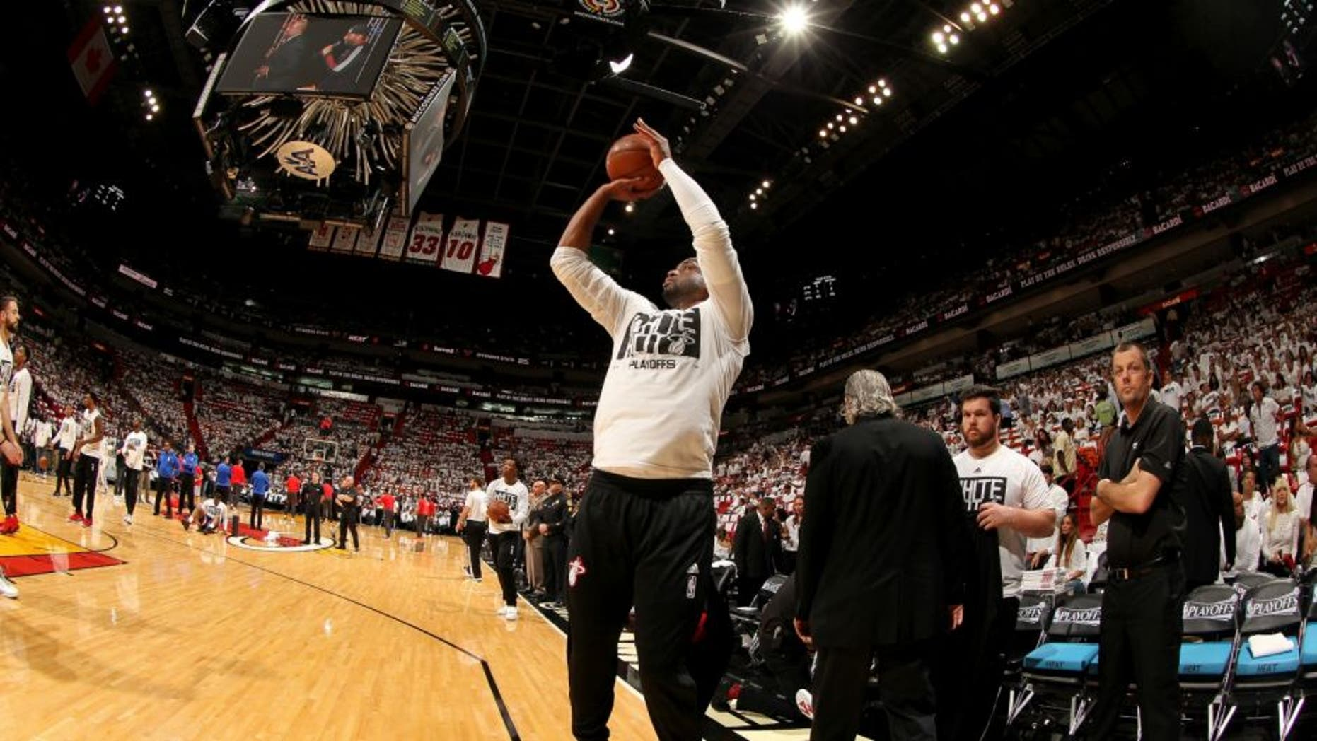 Miami Heat star Dwyane Wade warms up before the game against the Toronto Raptors in Game Three of the Eastern Conference Semifinals. (Photo by Issac Baldizon/NBAE via Getty Images)