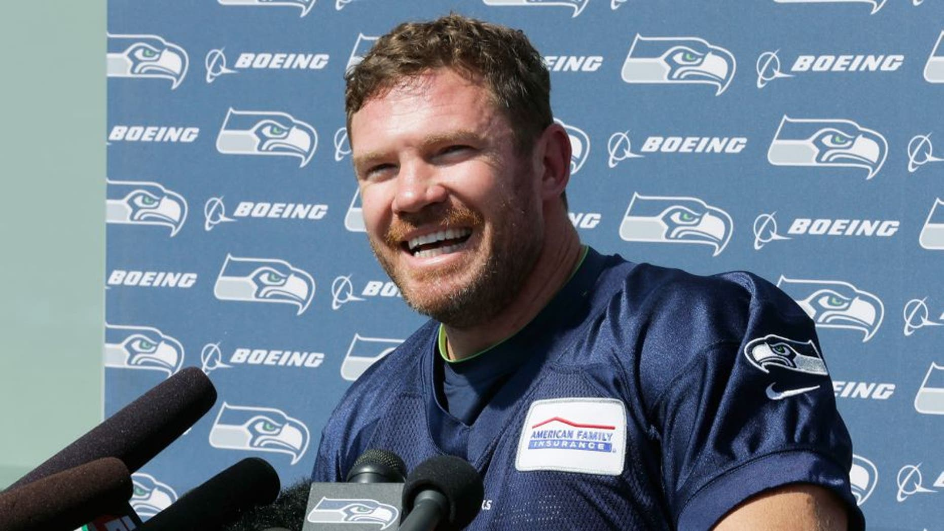 U.S. Army veteran and former Texas long snapper Nate Boyer talks to reporters after Seattle Seahawks minicamp.