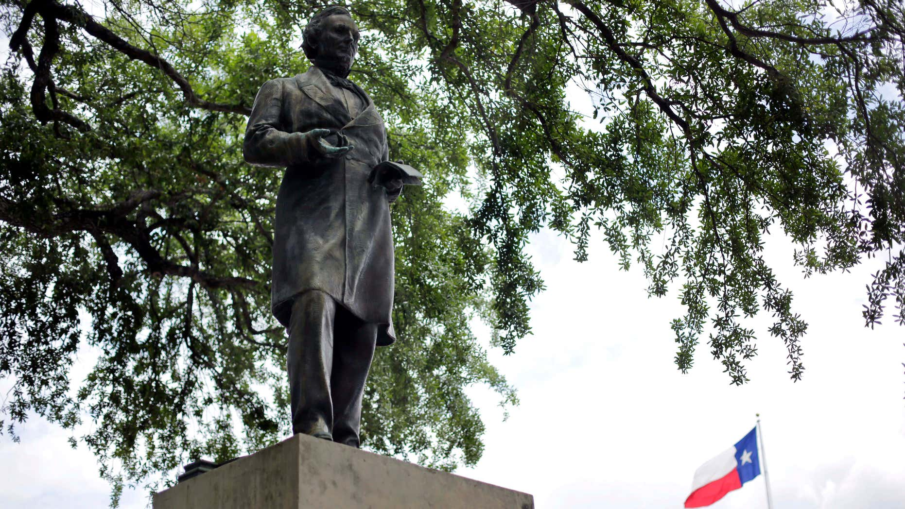 May 5, 2015: A statue of Jefferson Davis is seen on the University of Texas campus.