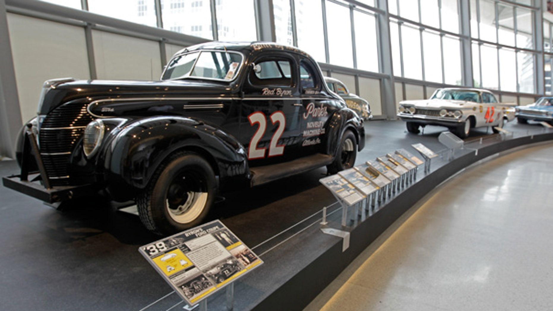 May 4: Red Byron's 1939 Ford, winner of NASCAR's first race, is seen on Glory Road near the entrance to the NASCAR Hall of Fame in Charlotte, N.C.