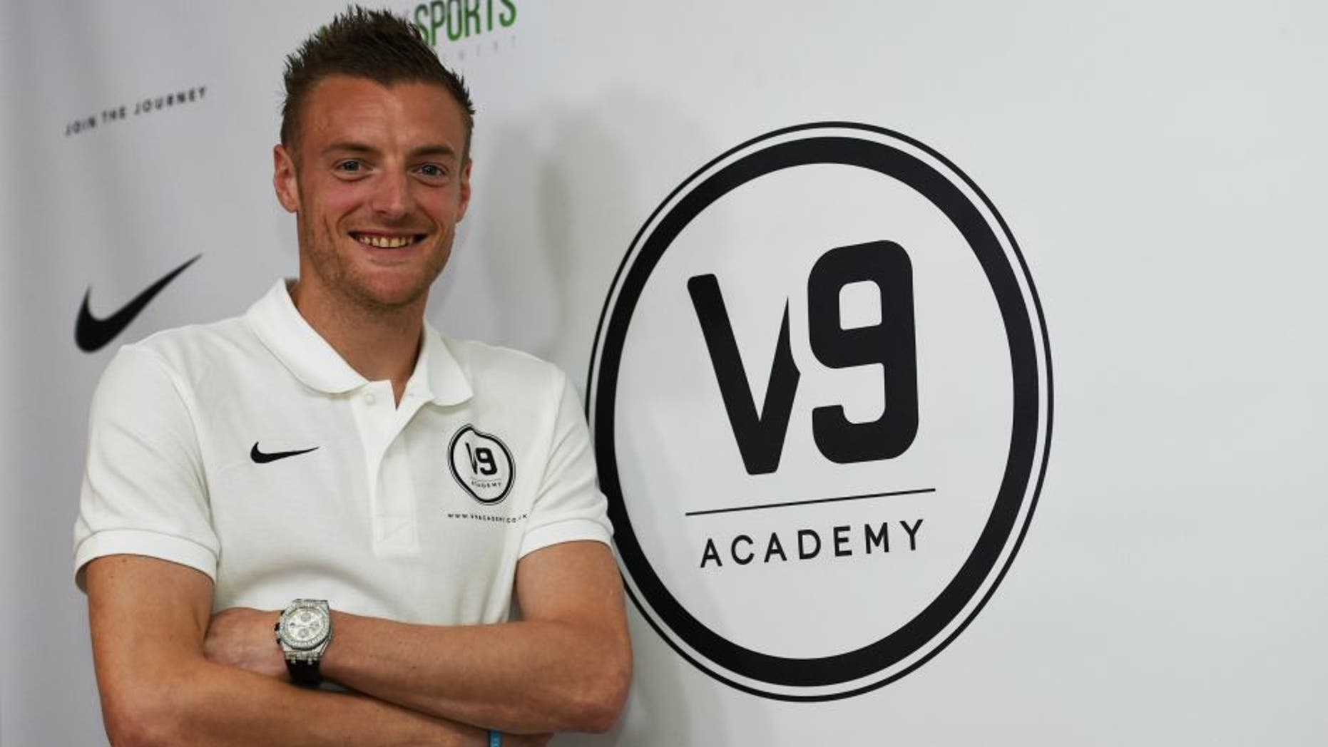 Leicester City and England striker Jamie Vardy attends the Jamie Vardy V9 Academy Launch at The King Power Stadium on May 9, 2016 in Leicester, England.