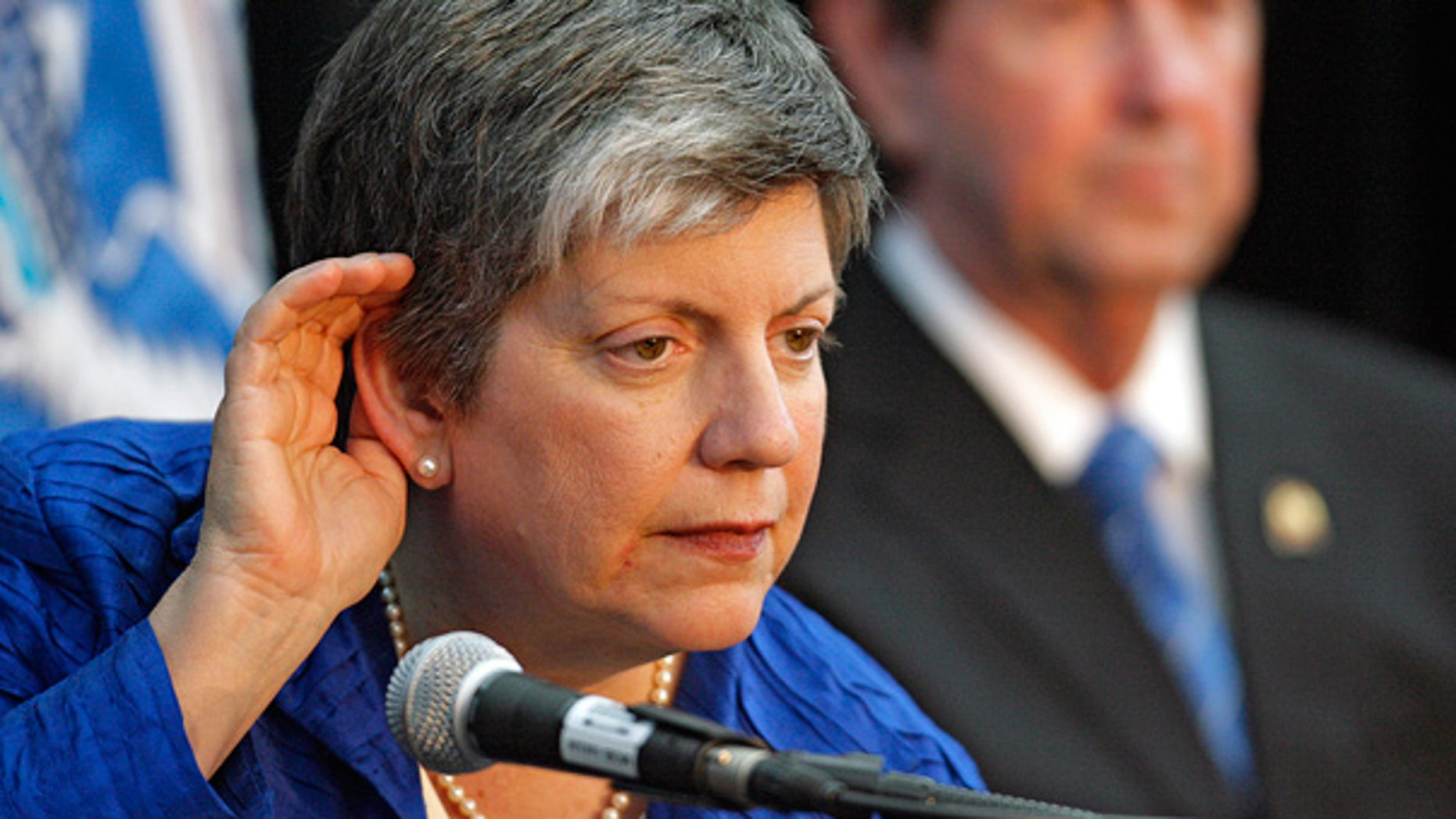 May 11: Homeland Security Director Janet Napolitano listens to a reporter's question in Mobile, Ala.