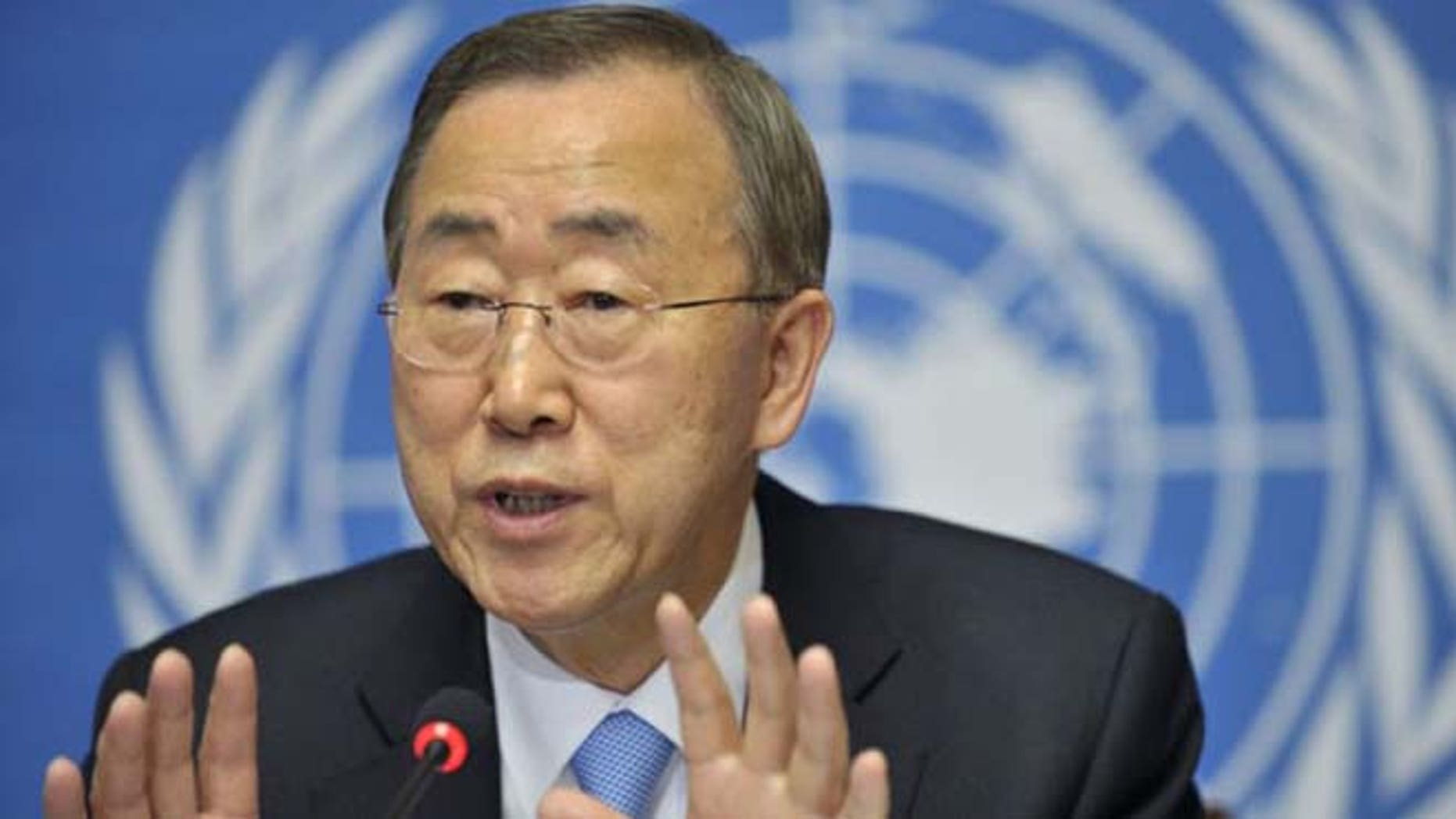 United Nations Secretary-General Ban Ki-moon speaks during a press conference at the European headquarters of the United Nations in Geneva, Switzerland. (AP)